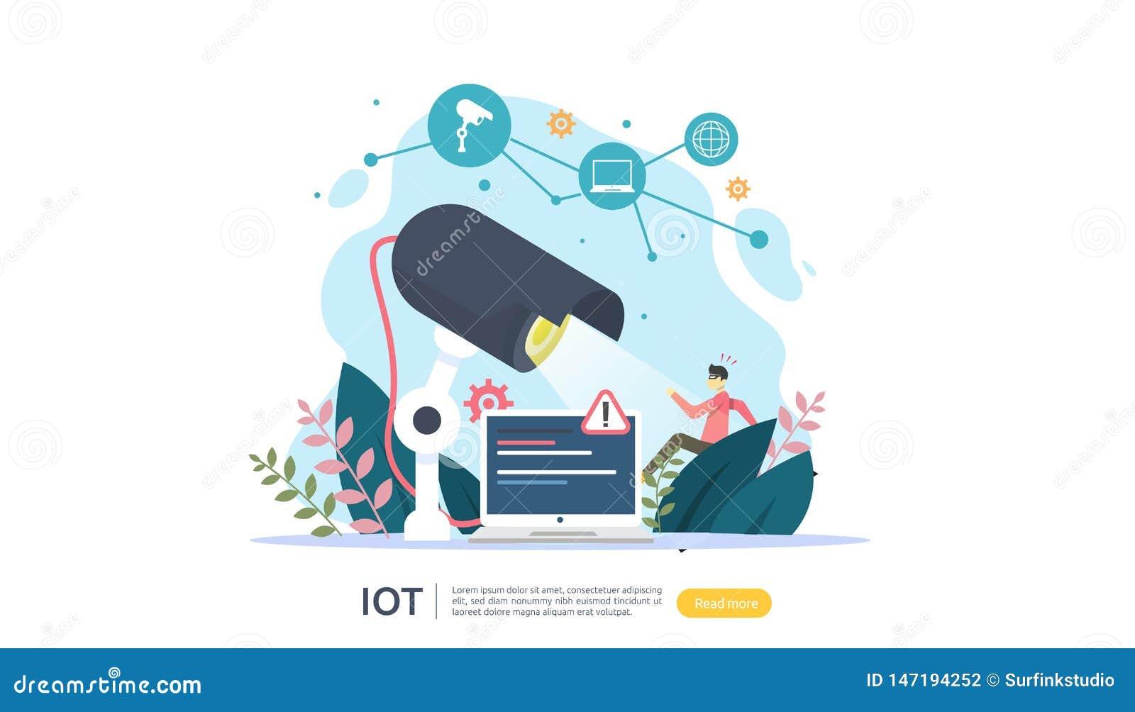 Monitoração da câmara de segurança do CCTV ladrão chocado detectado Internet de IOT do conceito esperto da casa das coisas para 4