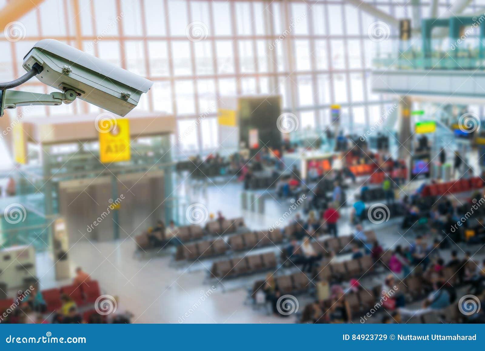 Monitoração de segurança do sistema do CCTV no borrão do aeroporto