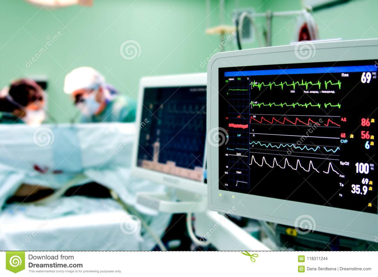 Monitoring Of ECG, Blood Pressure, Saturation Of The Patient During