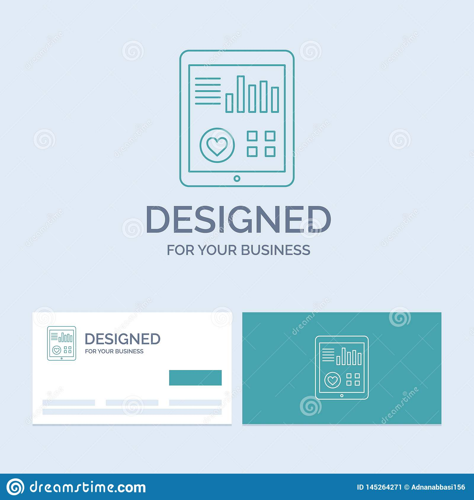 monitoring, health, heart, pulse, Patient Report Business Logo Line Icon Symbol for your business. Turquoise Business Cards with