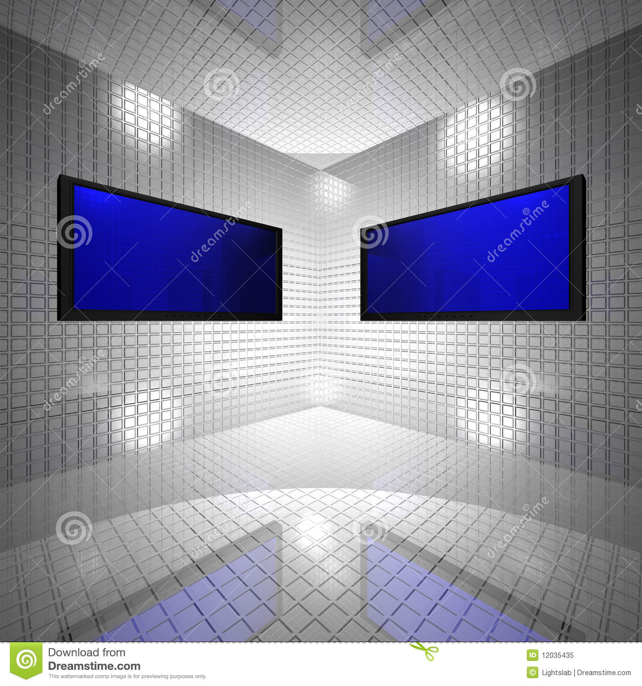 Monitors In Grid Room Royalty Free Stock Photo Image