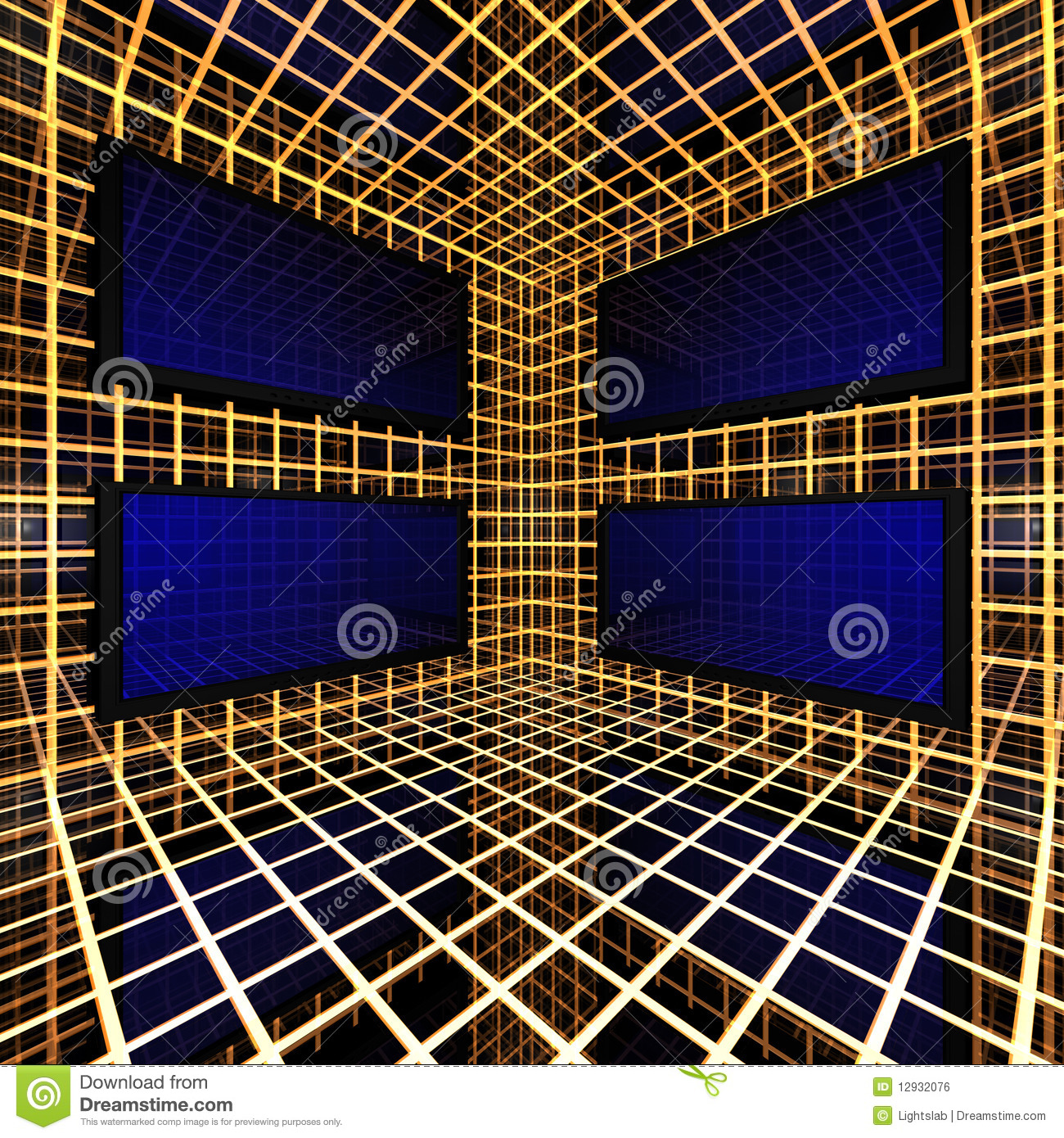 Monitors in grid room royalty free stock image image for Room grid