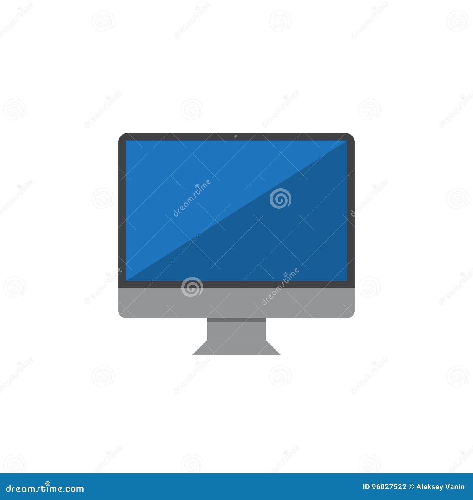 Monitoruje ikona wektor, komputeru stacjonarnego loga stała ilustracja, c