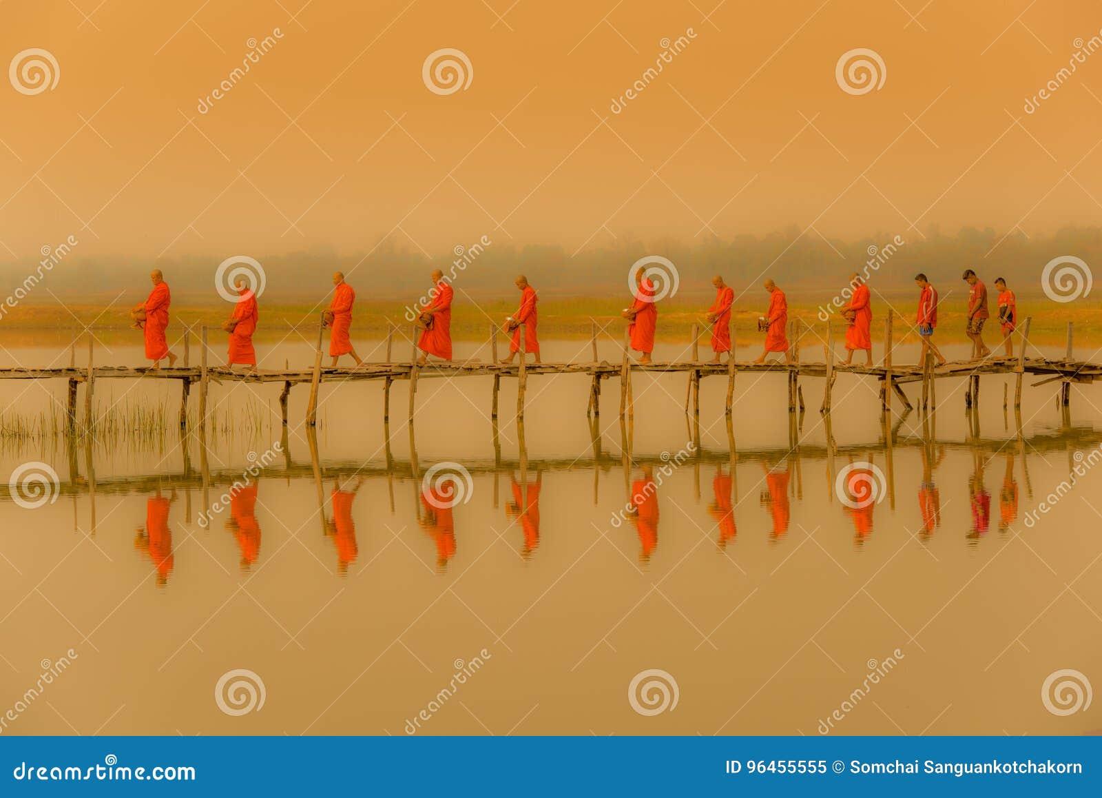 Monjes de Buddist que marchan para buscar limosnas por mañana con envi fofoggy