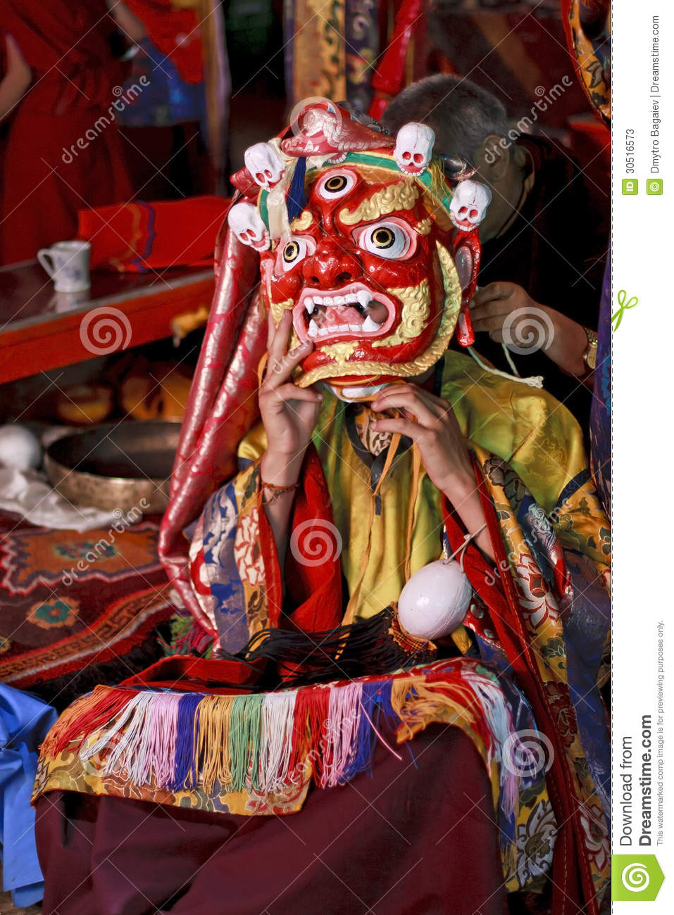 afe62961c Editorial Stock Photo. Monk dresses up for ritual dance at buddhist festi