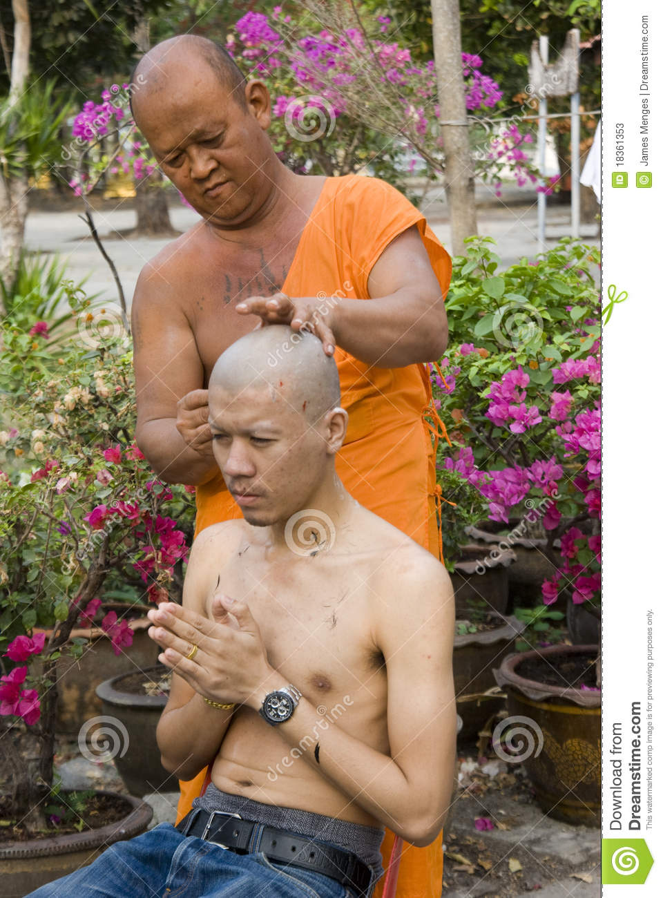 Monk and shaved head