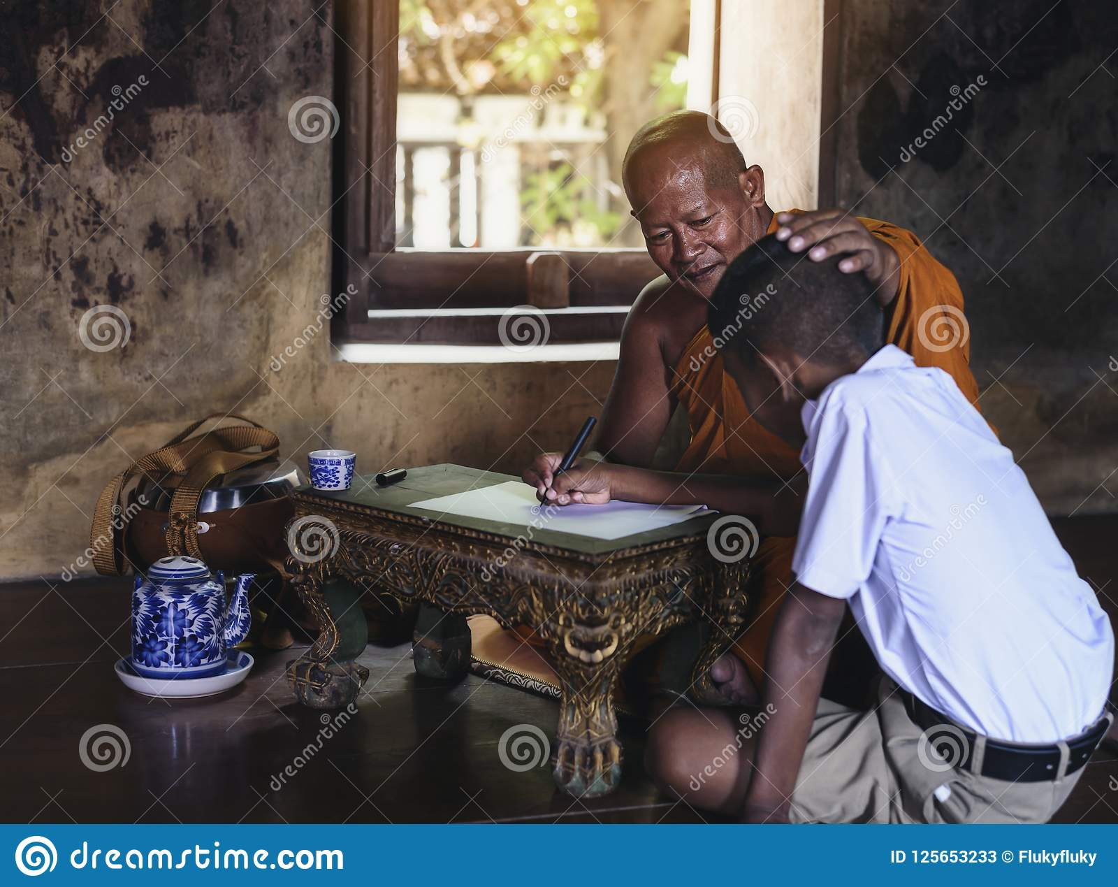 Outstanding Monk Teaching Children Books In Rural Temples Stock Image Interior Design Ideas Ghosoteloinfo