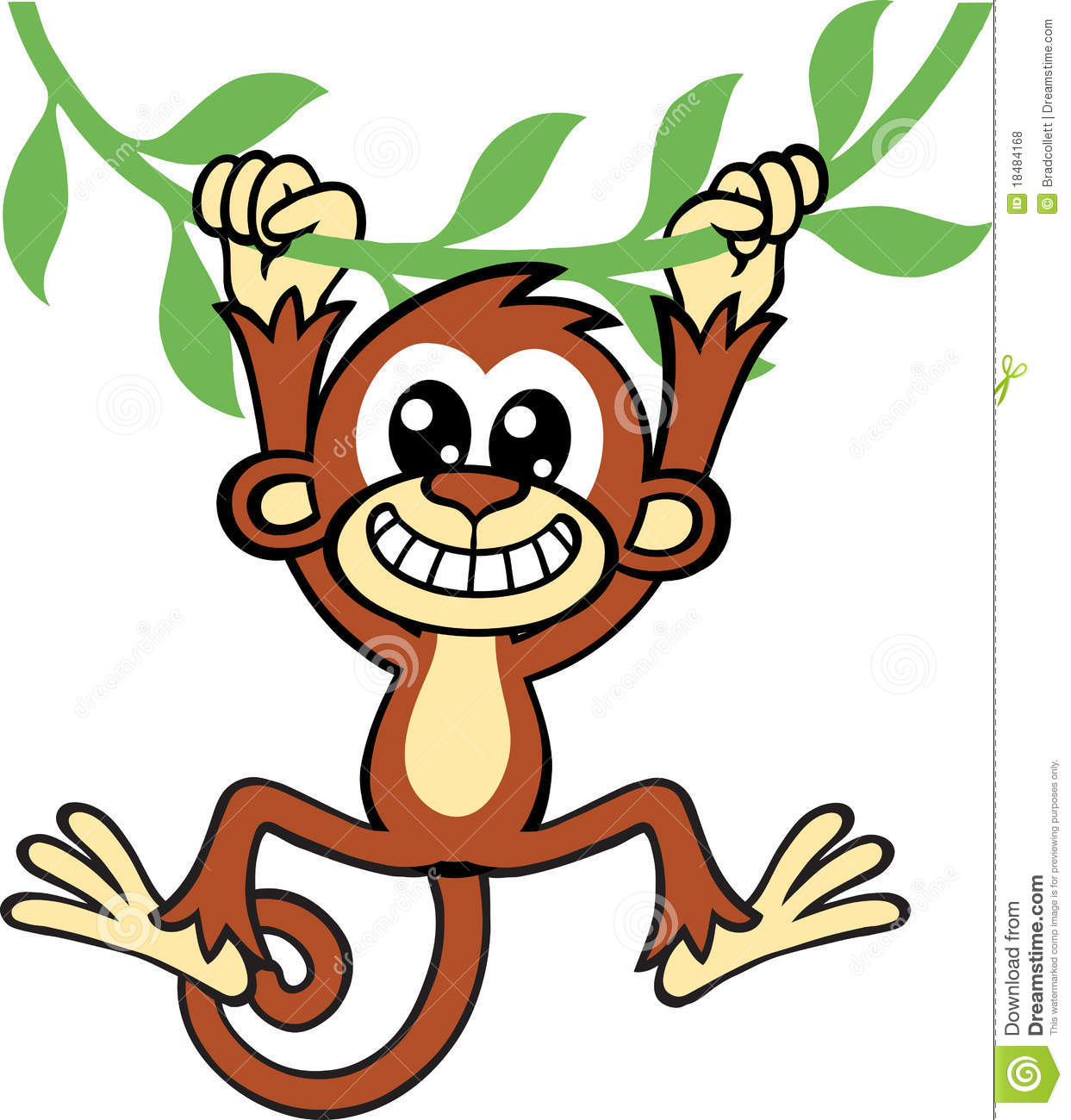 Cartoon Monkey Hanging Upside Down On A Vine Www