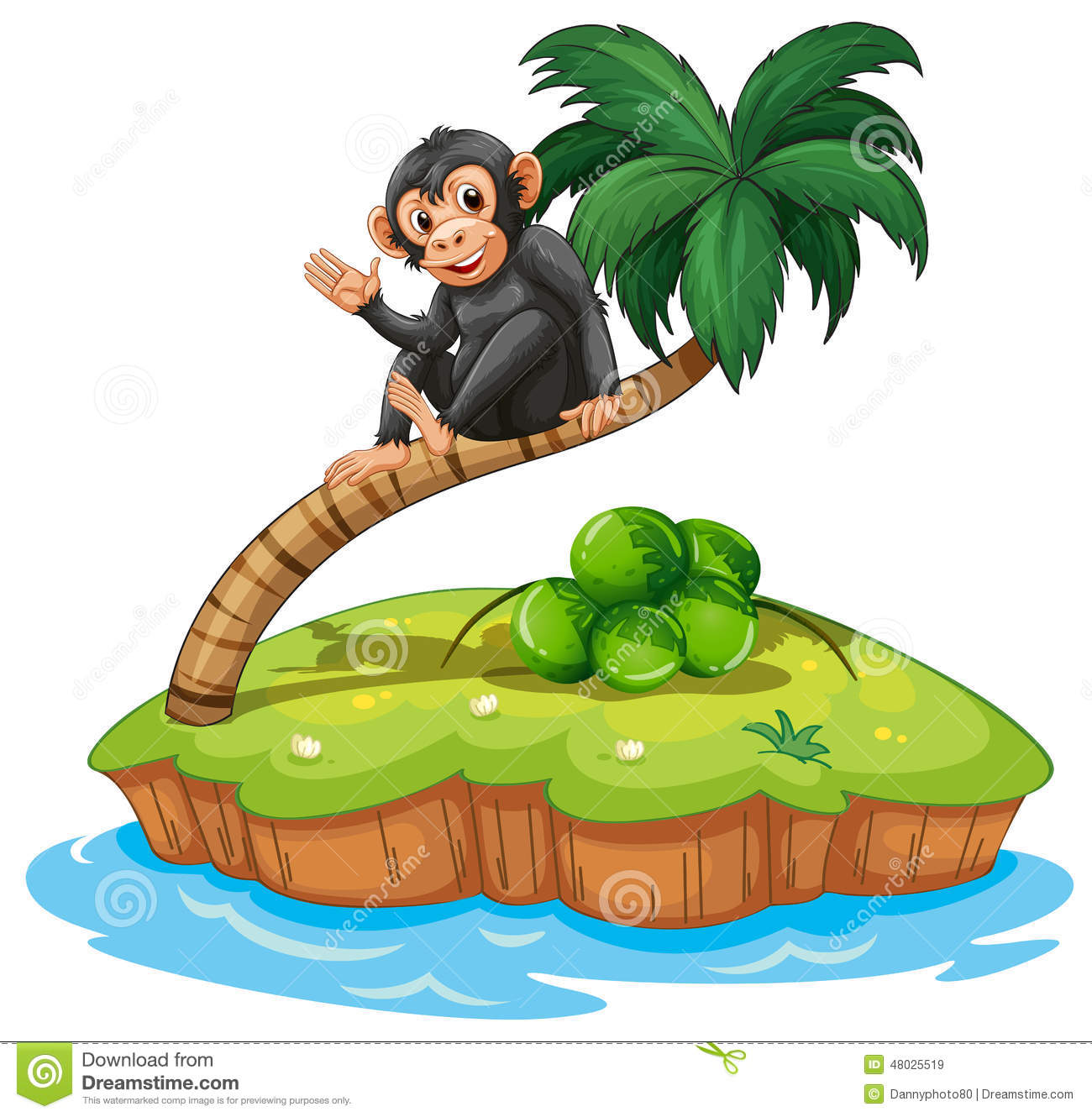 A Monkey Above The Coconut Tree Stock Vector Image 48025519