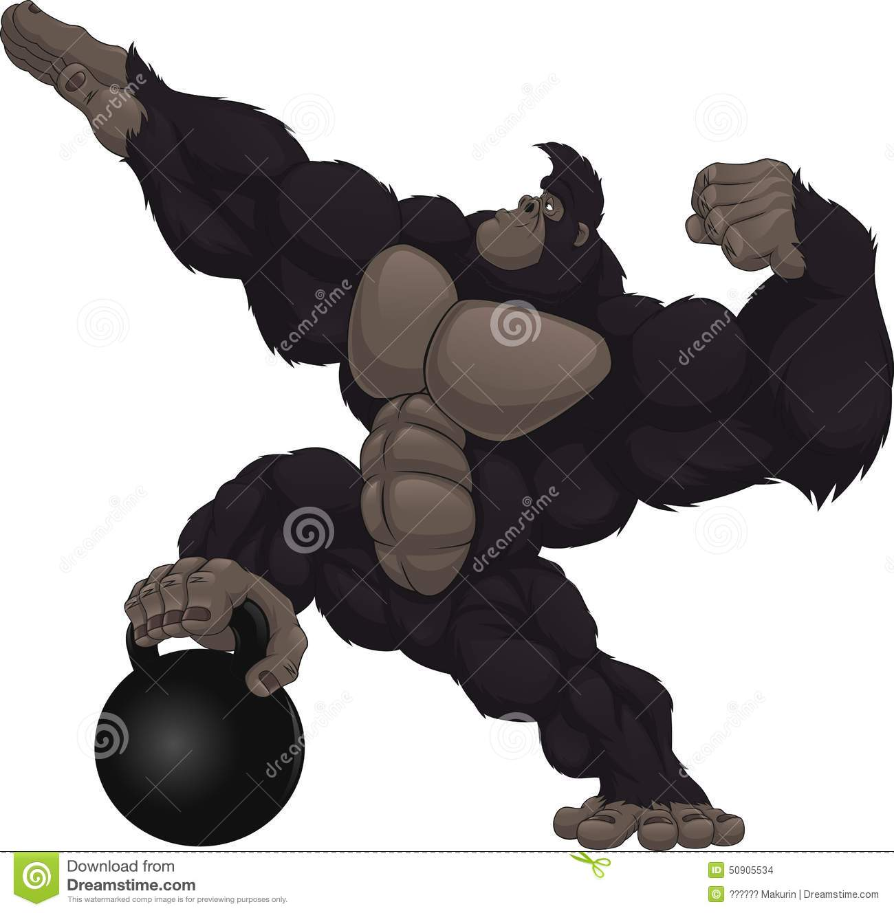 Gorilla Bodybuilder. Strong Black Monkey With Big Muscles