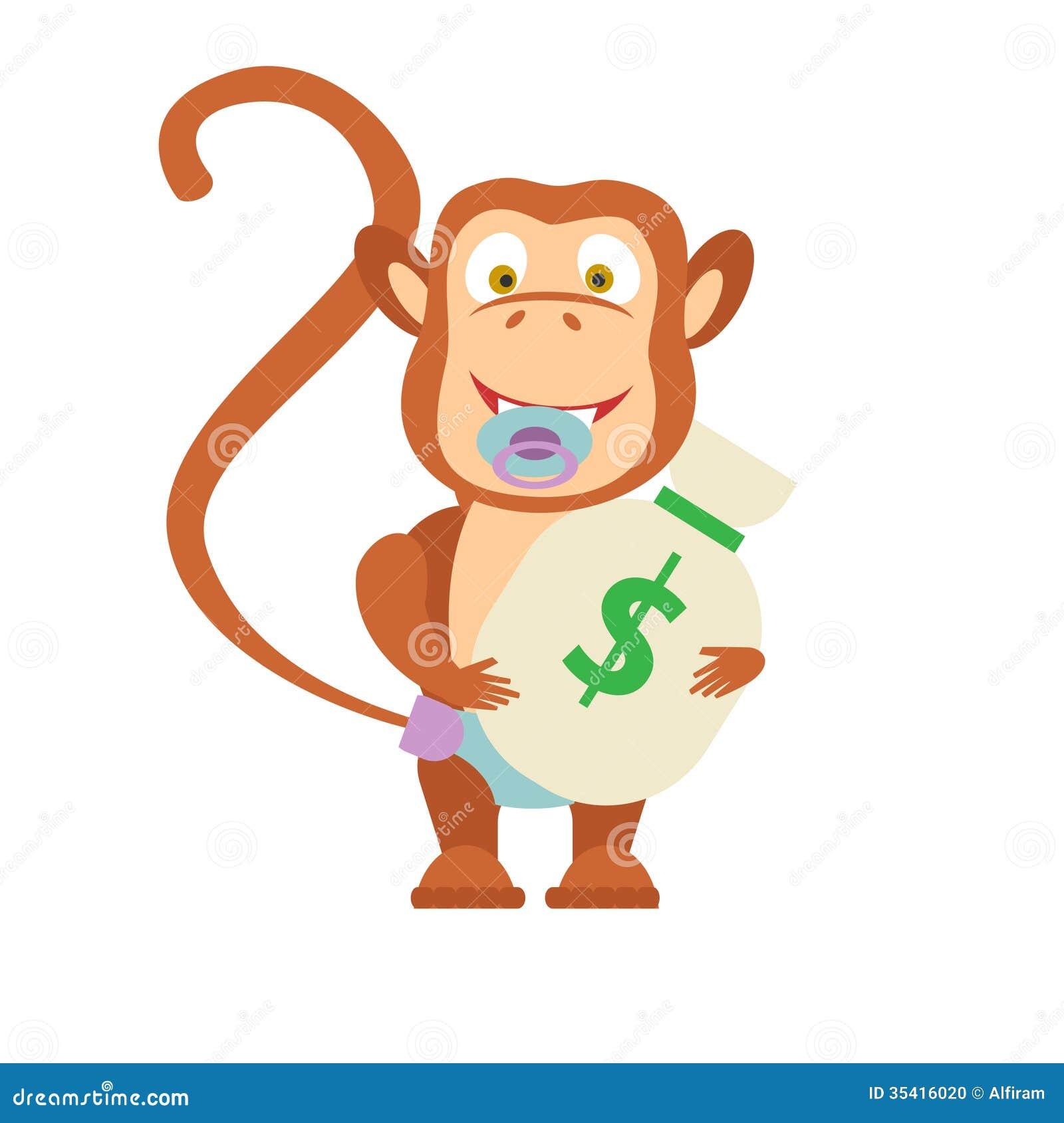 Monkey Baby With Money Bag Stock Photo - Image: 35416020