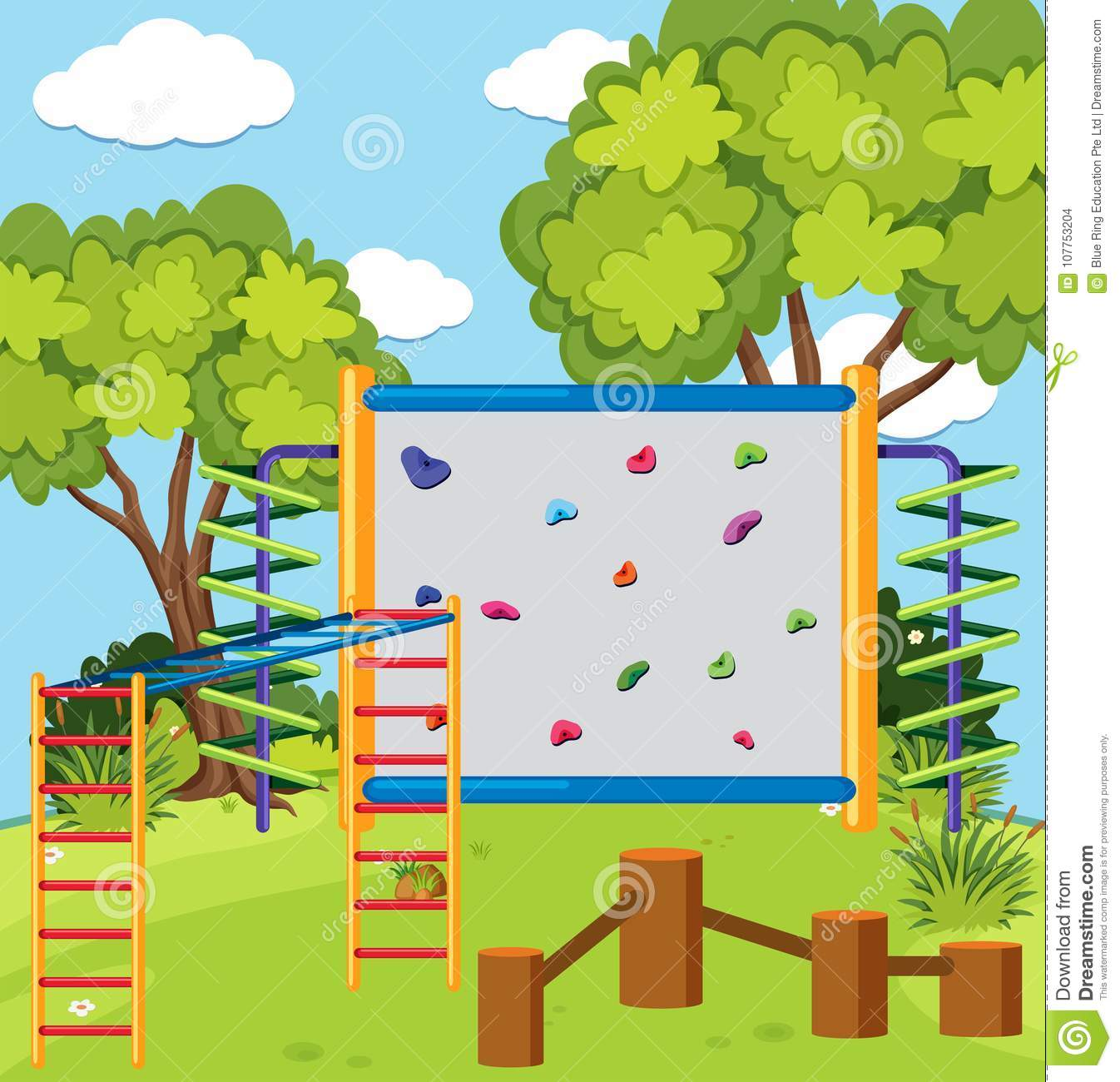 Monkey Bar And Climbing Wall In The Playground Stock Vector