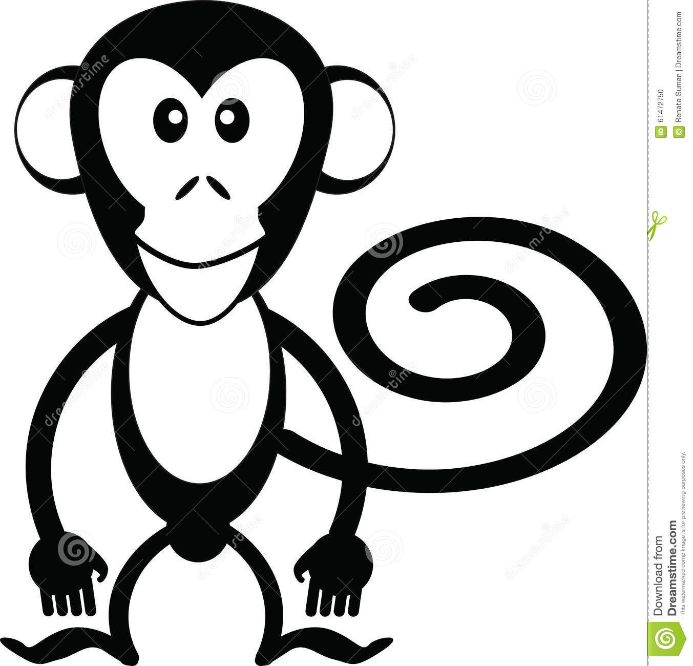 Monkey cartoon stock vector illustration of face fruit for Black and white only