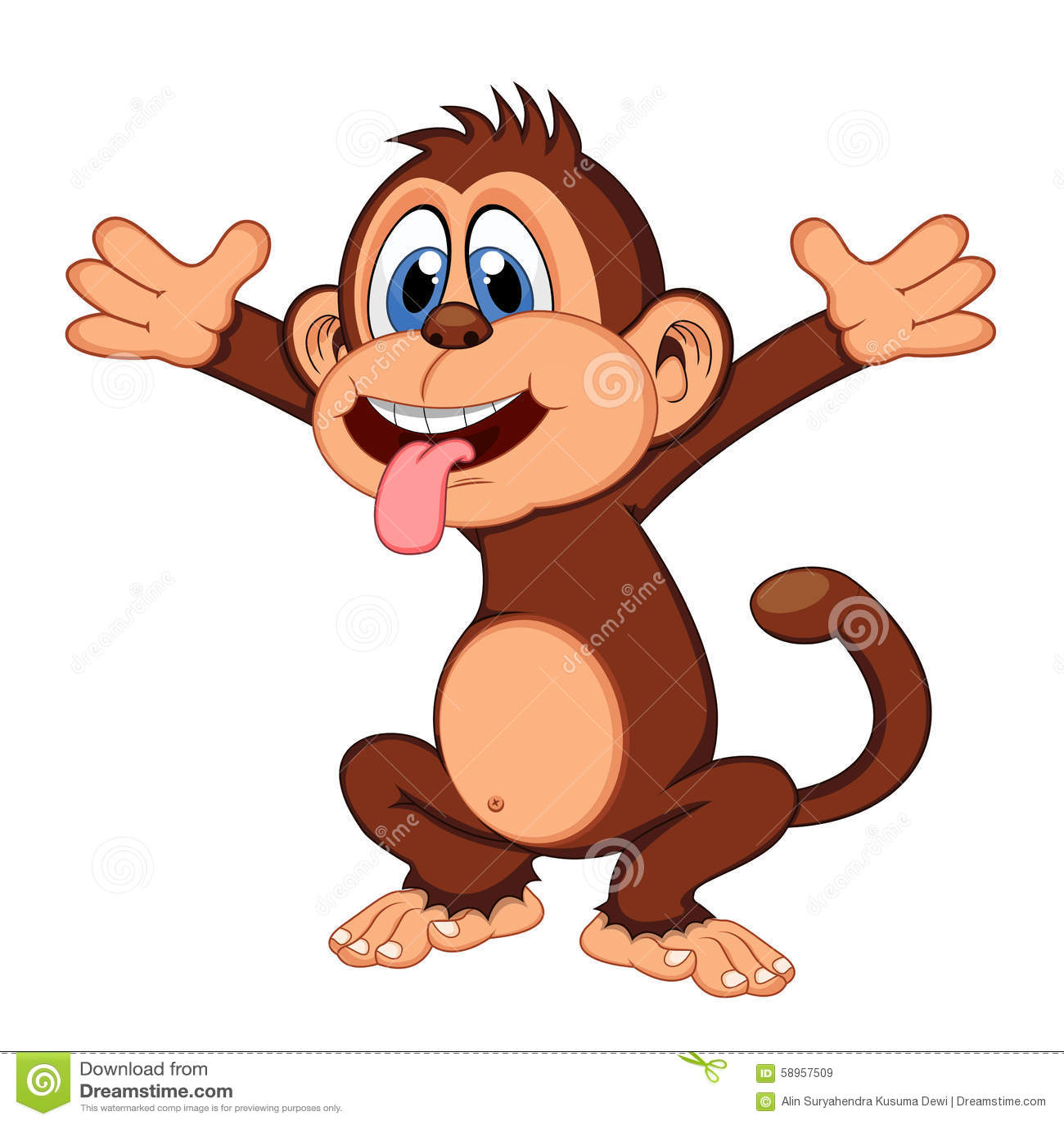 Monkey Cartoon Stock Vector. Image Of Drawing, Happy