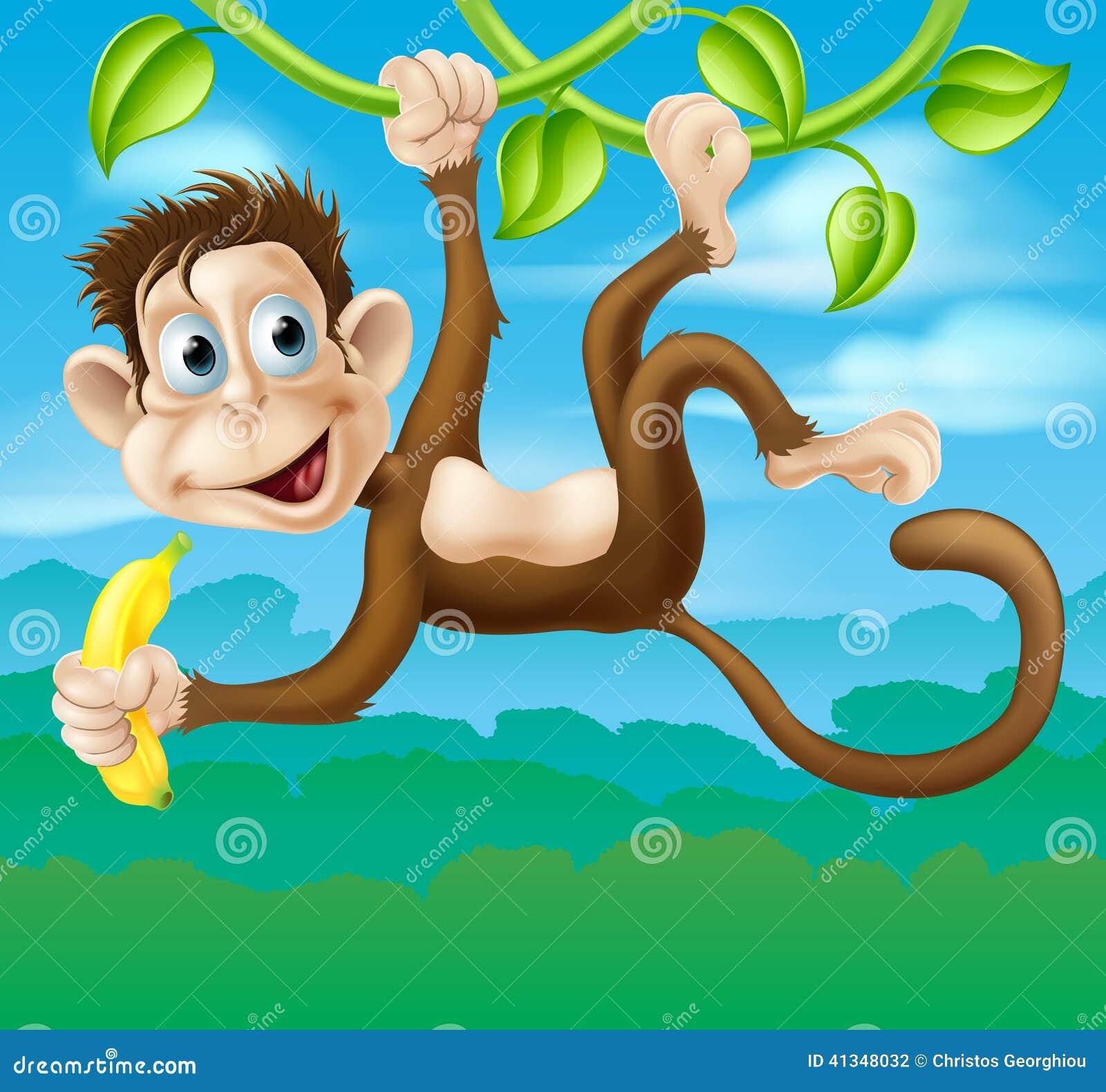 monkey cartoon in jungle swinging on vine stock vector