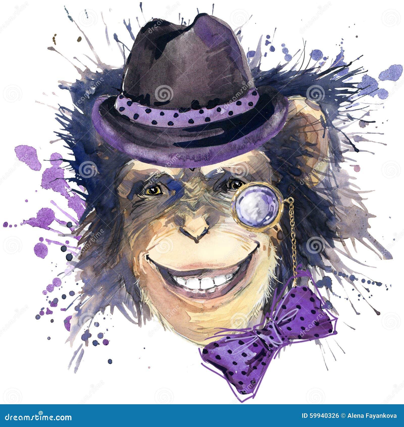 Monkey chimpanzee T-shirt graphics, monkey chimpanzee illustration with splash watercolor textured background. illustration water