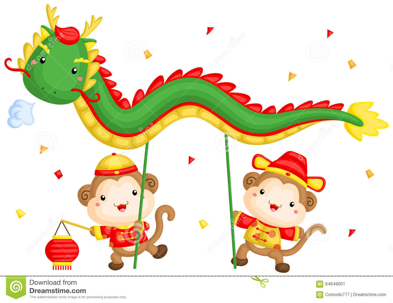 Monkey Chinese New Year Dragon Dance Stock Vector - Image: 64649001