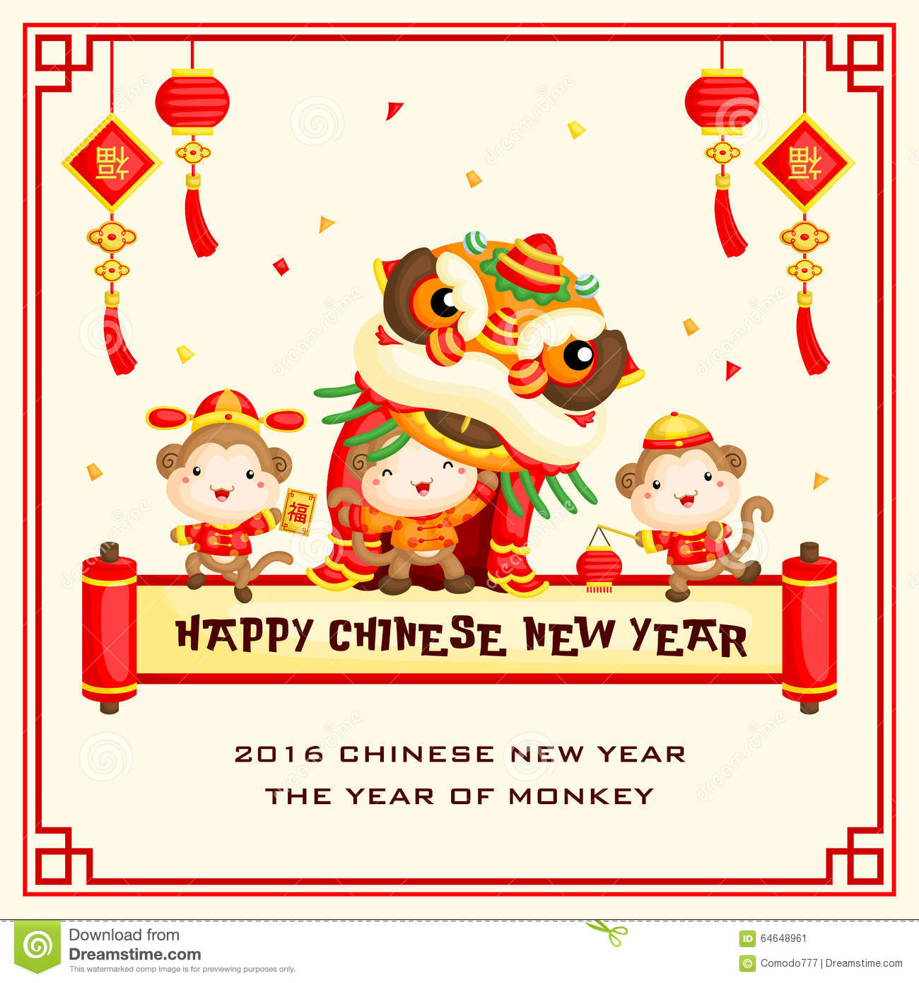 monkey chinese new year greeting card vector illustration