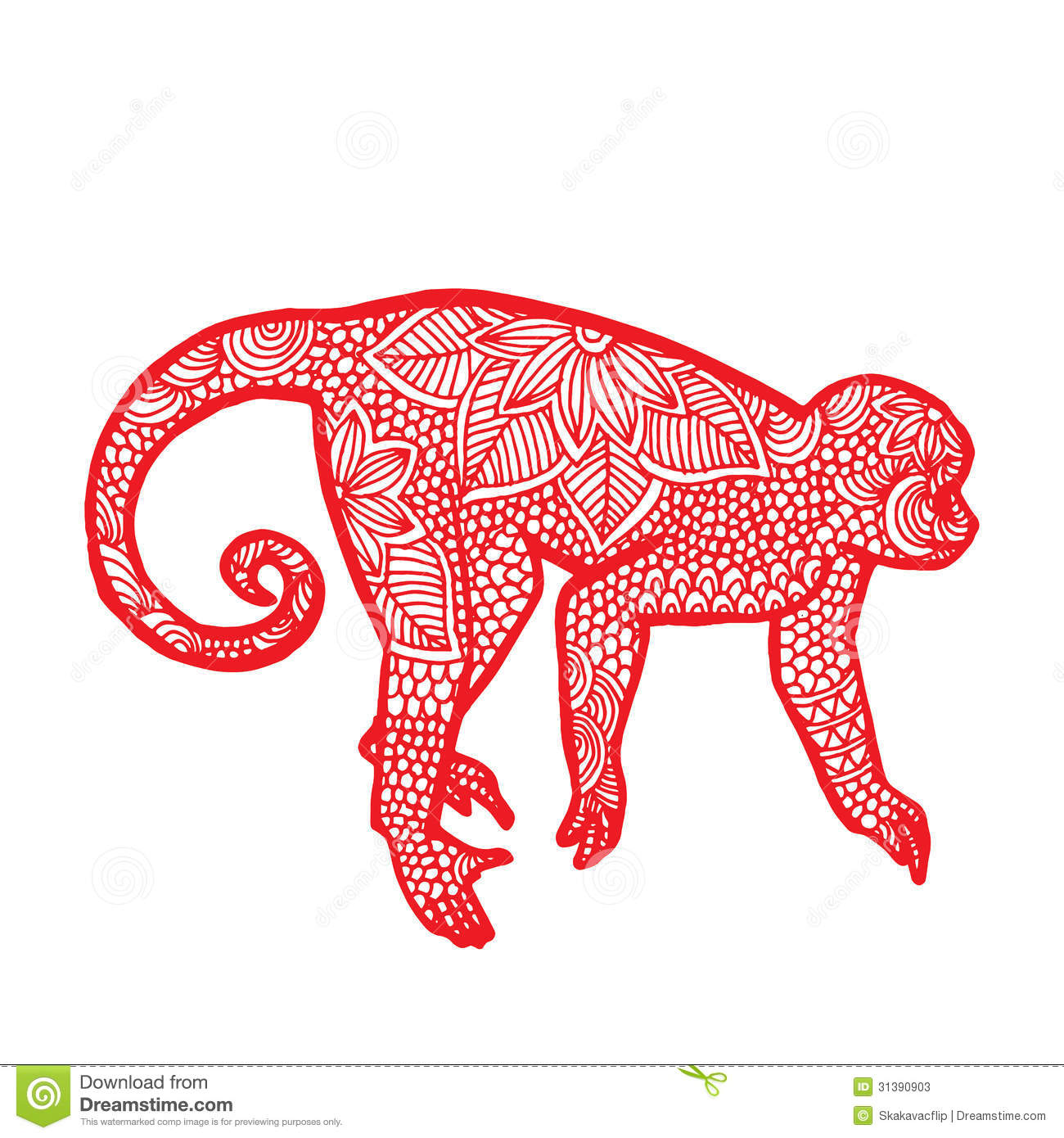 Illustration of red monkey with floral decoration on simple white ...