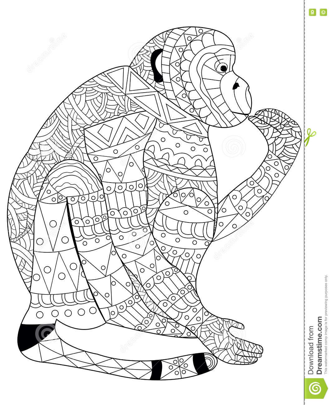 Monkey Coloring Vector For Adults Stock Vector - Illustration of ...