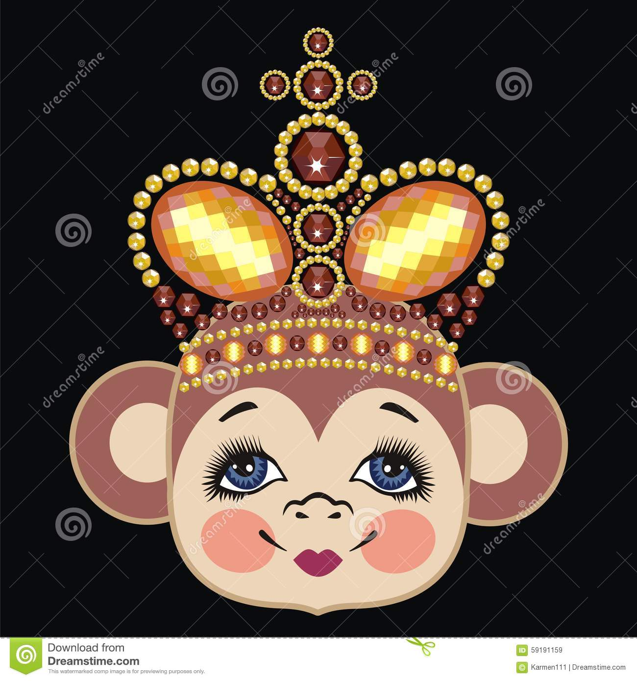 Monkey In The Crown Queen Pattern Head Chinese Zodiac 2016