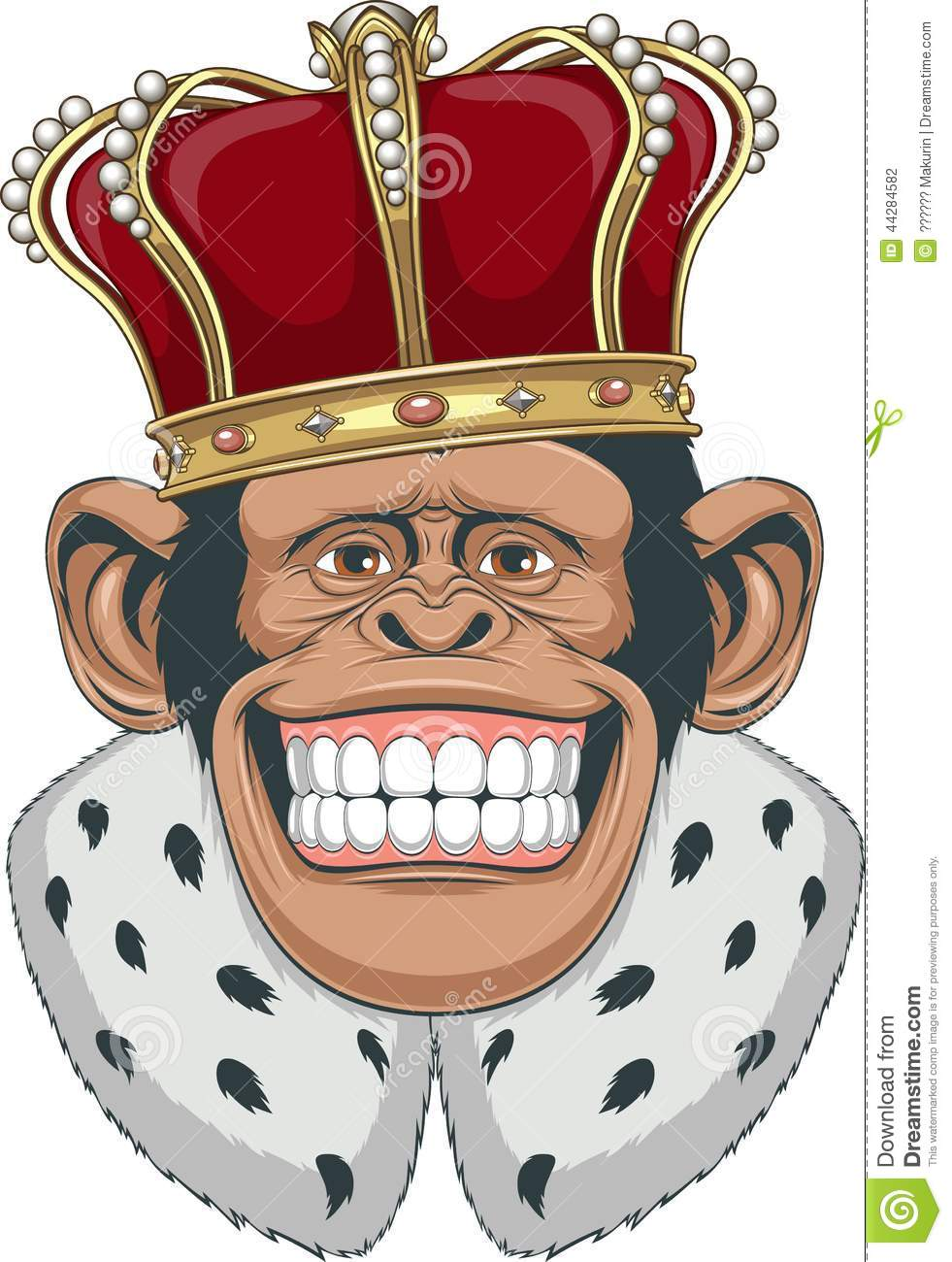 Vector illustration, formidable monkey in a crown.