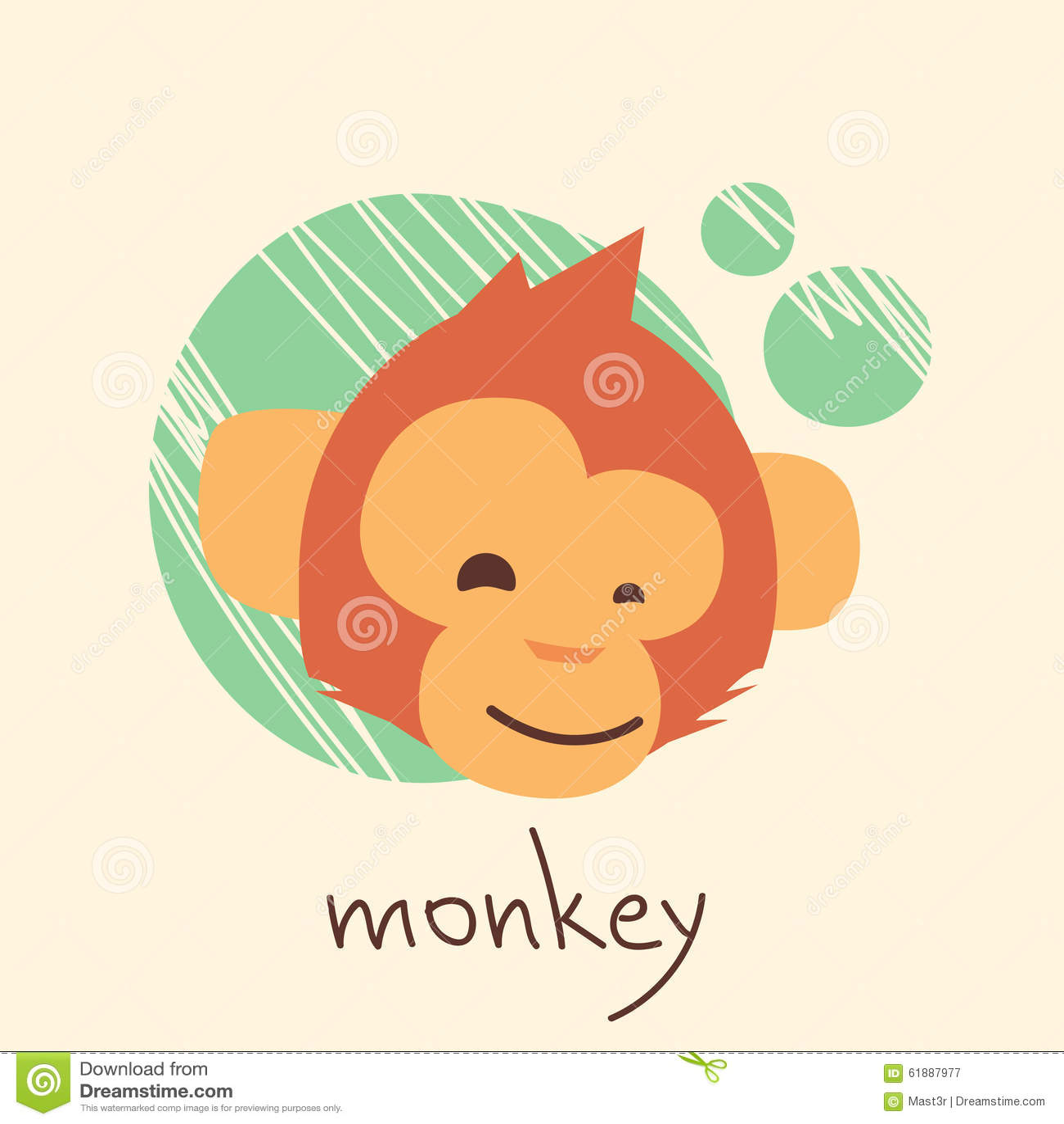 Monkey Face Cartoon Head Drawing Flat Stock Vector Illustration Of