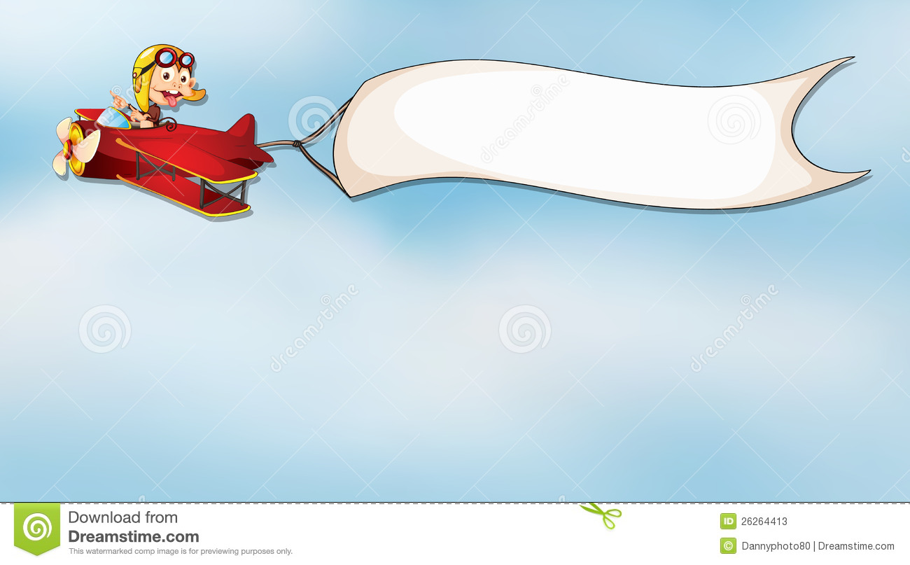 monkey flying in aircraft with flag stock vector illustration of