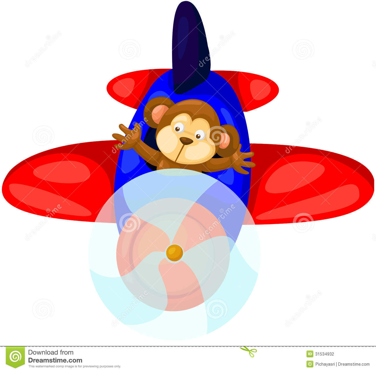 Monkey Flying Airplane Stock Vector Illustration Of Object 31534932