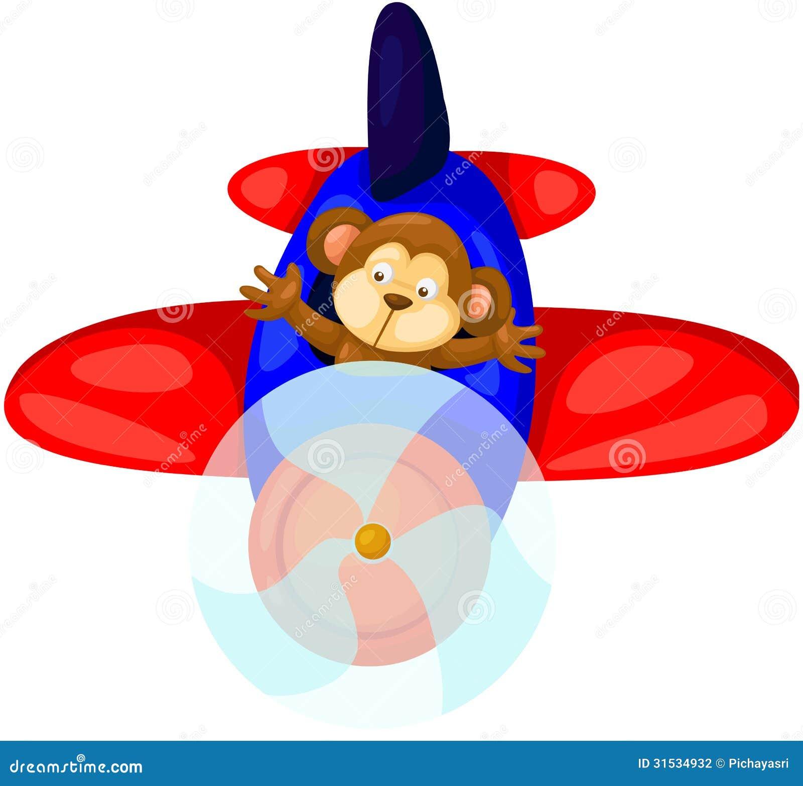 Monkey Flying Airplane Illustration 31534932 Megapixl