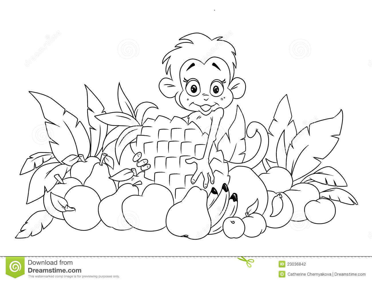 Monkey and a lot of tropical fruit coloring page