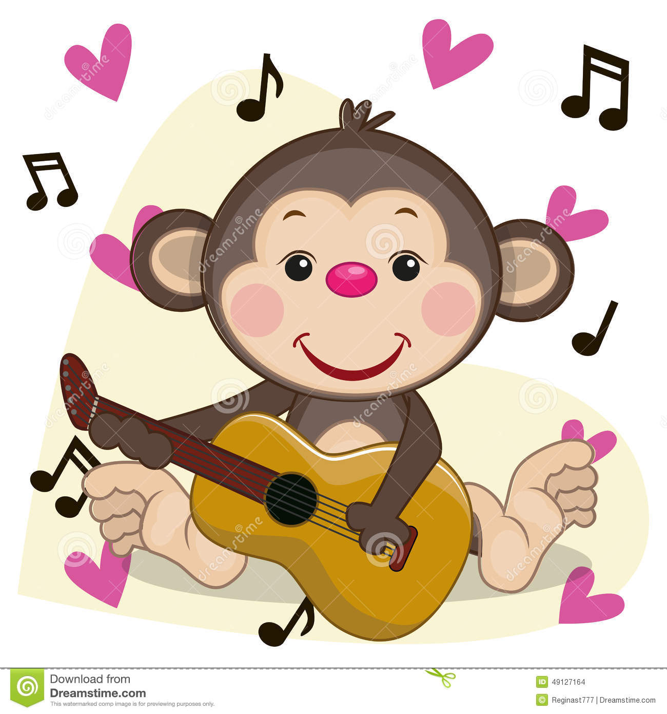 Monkey With Guitar Stock Vector Image Of Dancing Drawing
