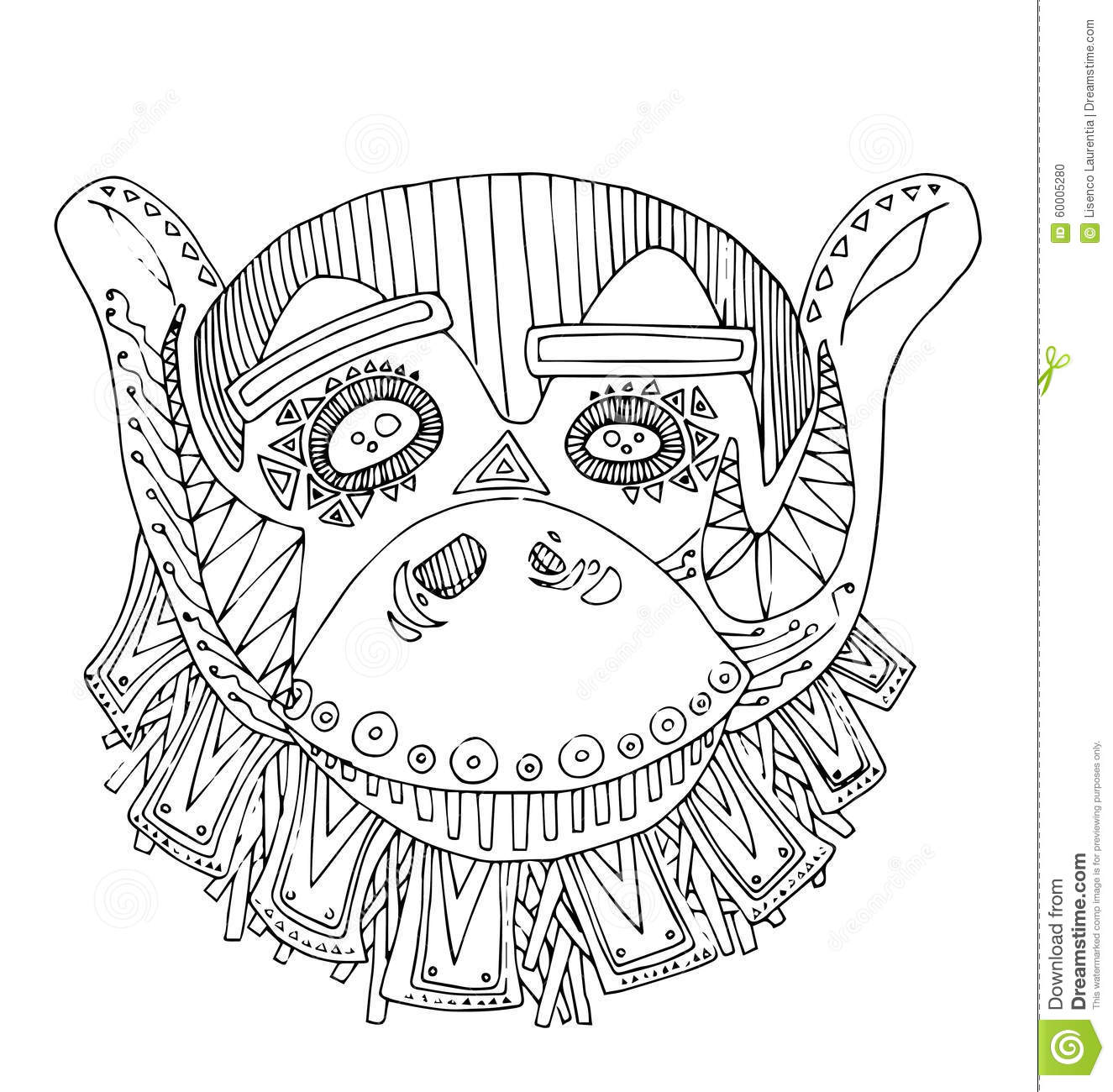 The Monkey Hand Drawing Outline Cartoon For Coloring Stock Vector