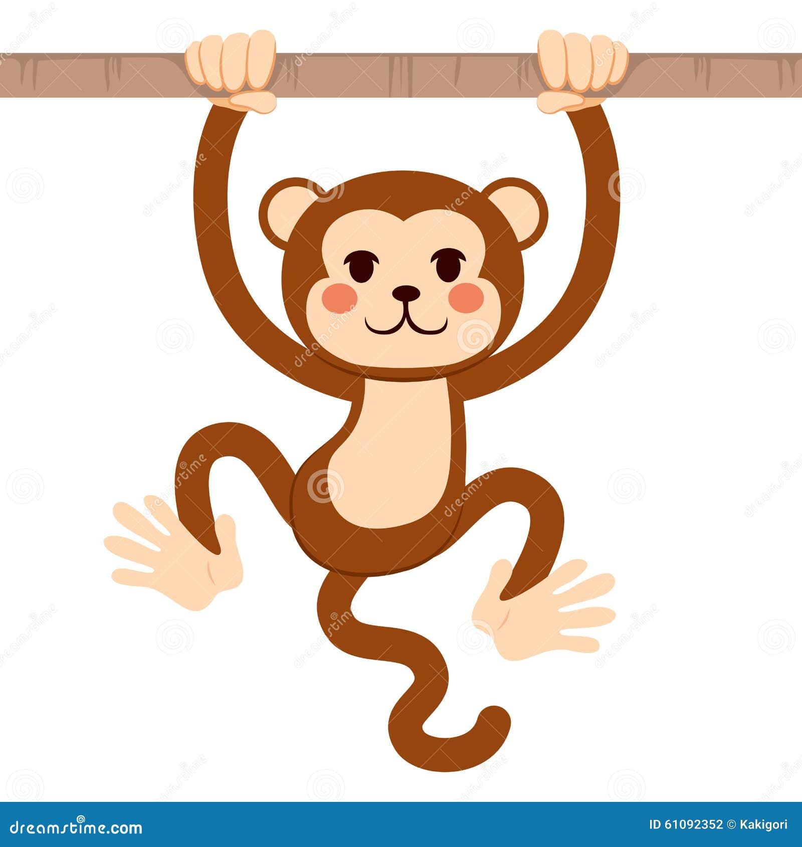 Monkey Hanging Branch Stock Vector Image 61092352