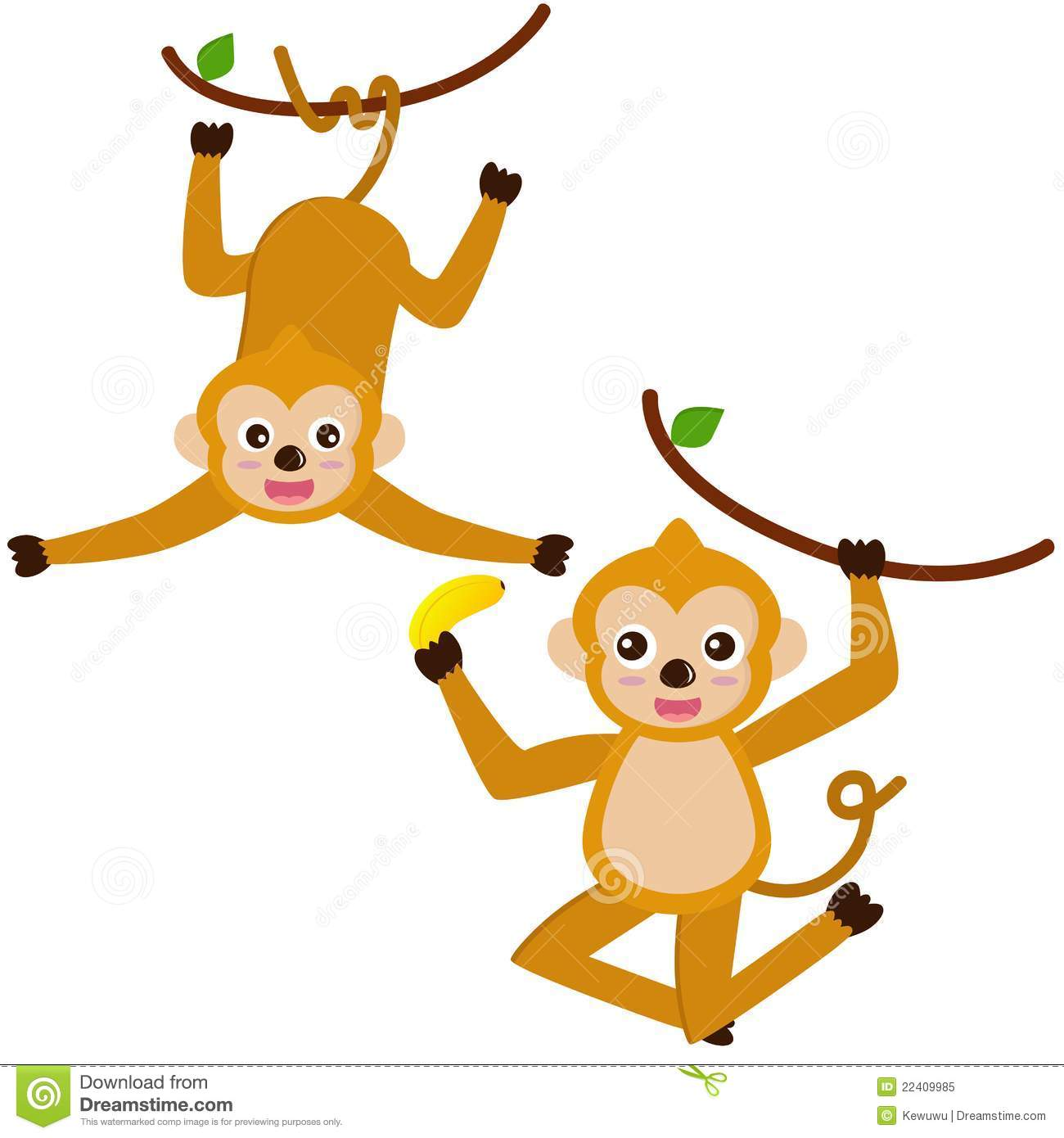 Images for simple cartoon monkey hanging - Animal Colorful Cute Hanging Monkey
