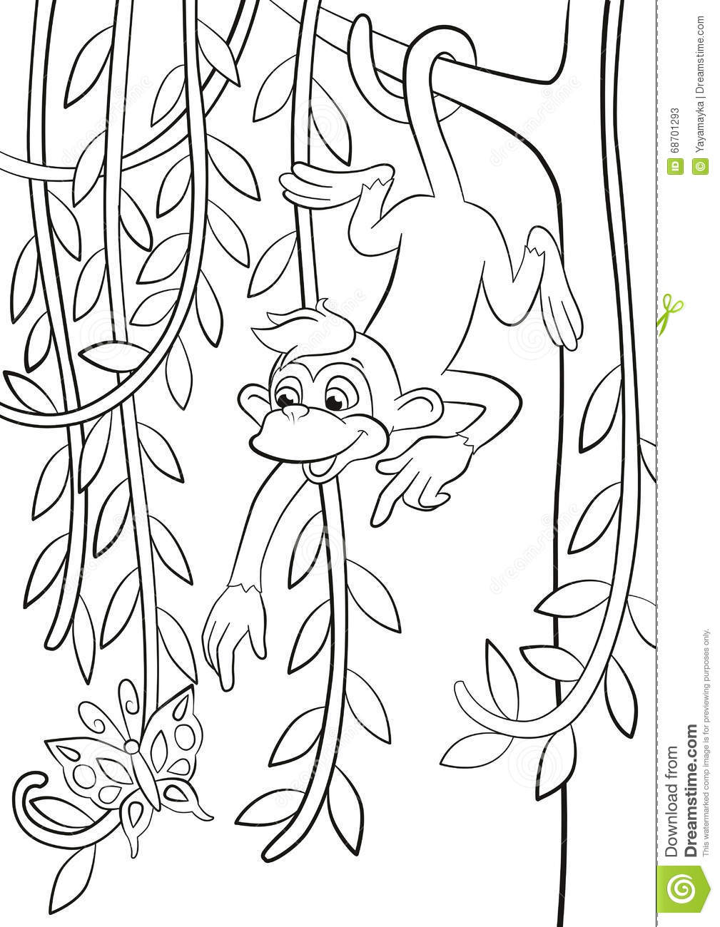 monkey in hanging on the tree branch. stock vector - image: 68701293 - Coloring Pages Monkeys Trees