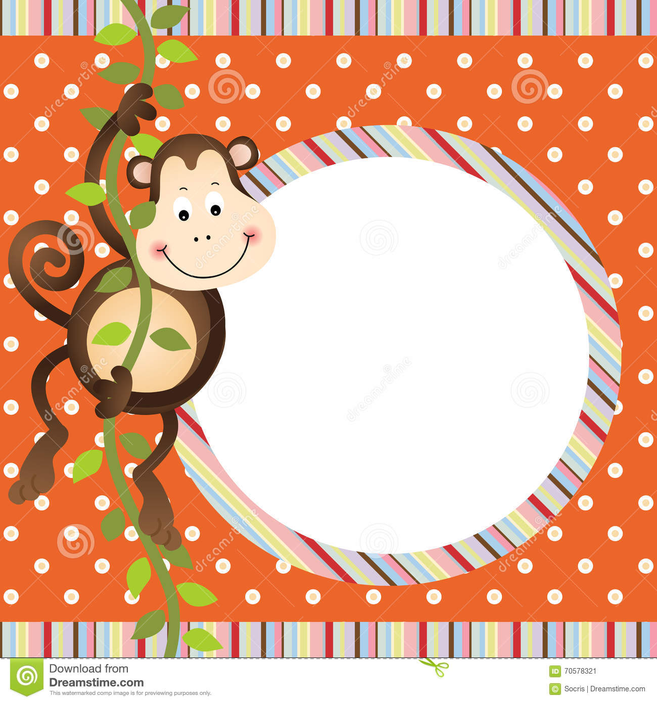 monkey hanging in tree frame background - Monkey Picture Frame