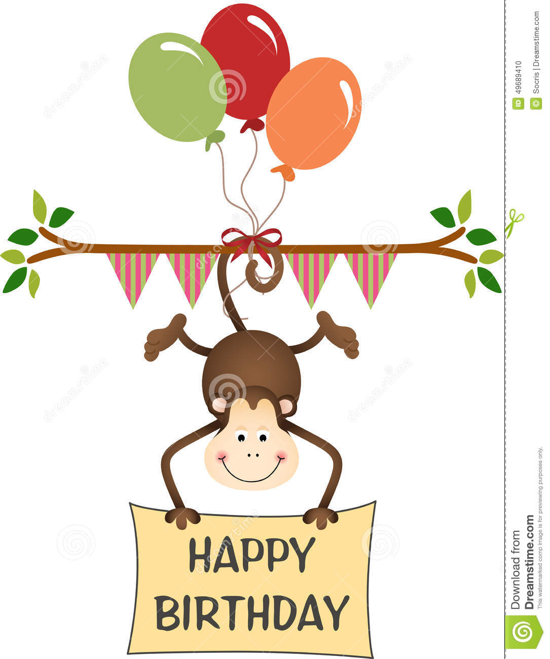 Monkey Happy Birthday With Balloons Stock Vector Image