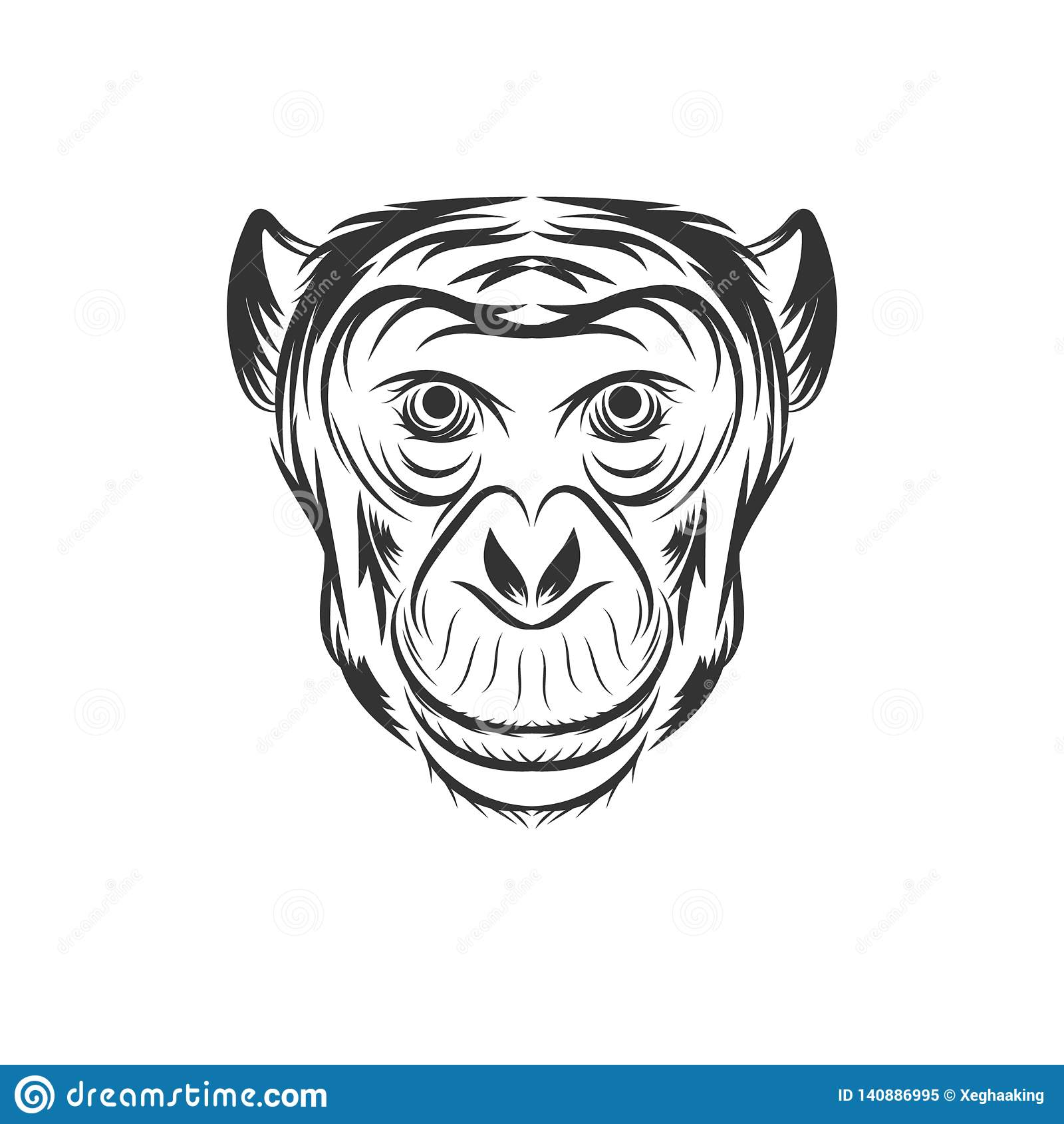 Monkey face illustration design