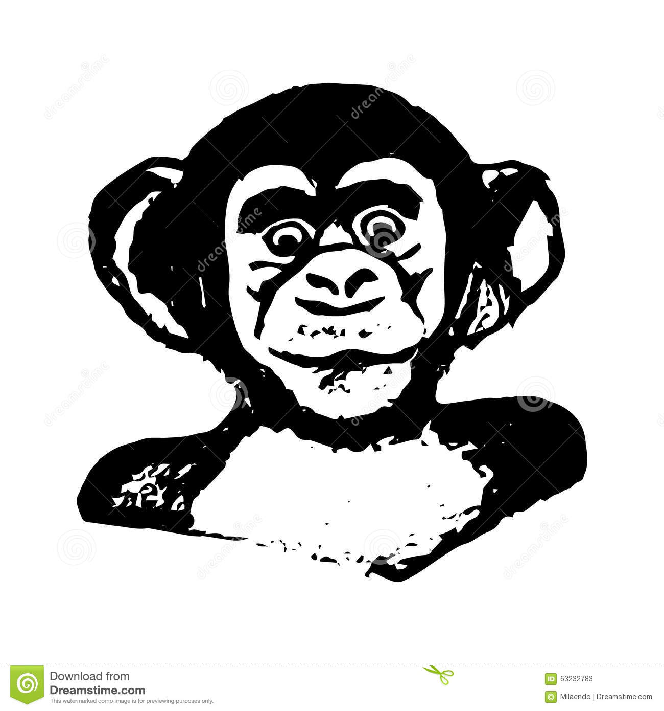 Line Drawing Monkey Face : Monkey head graphics chimpanzees stock vector image