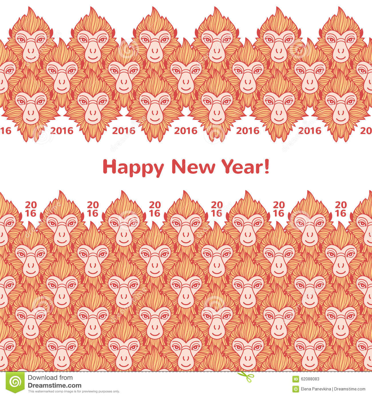 monkey heads new year horizontal borders with greetings