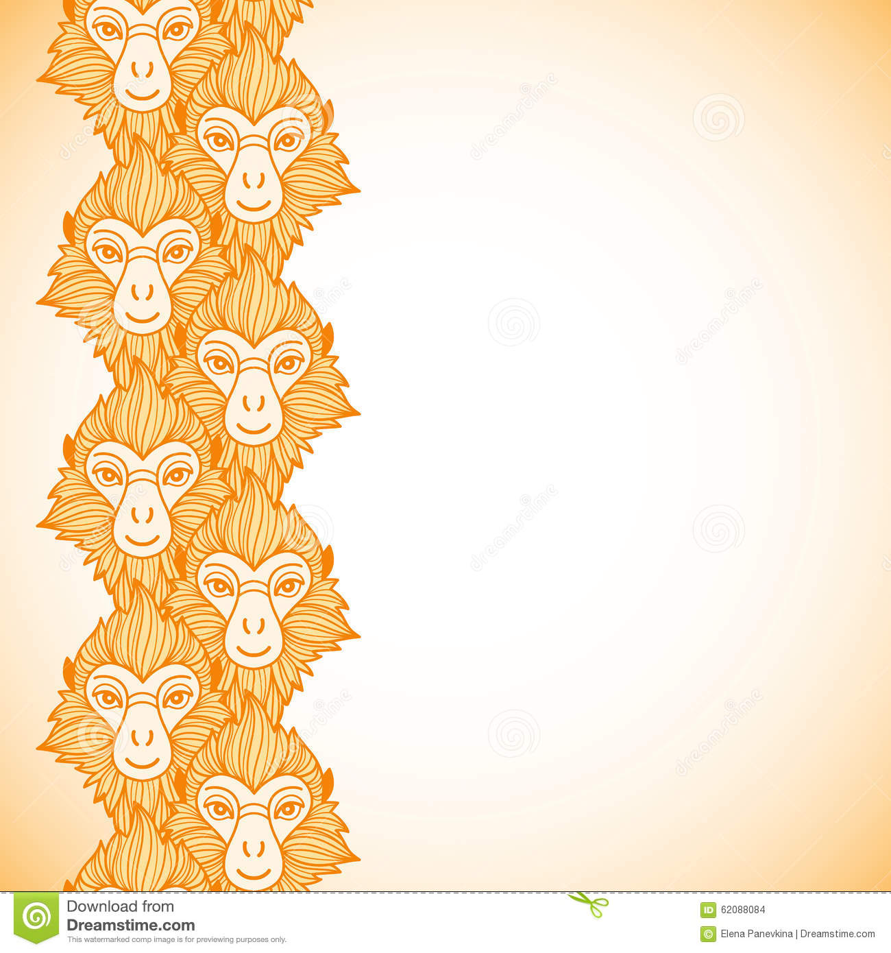 monkey heads new year vertical border