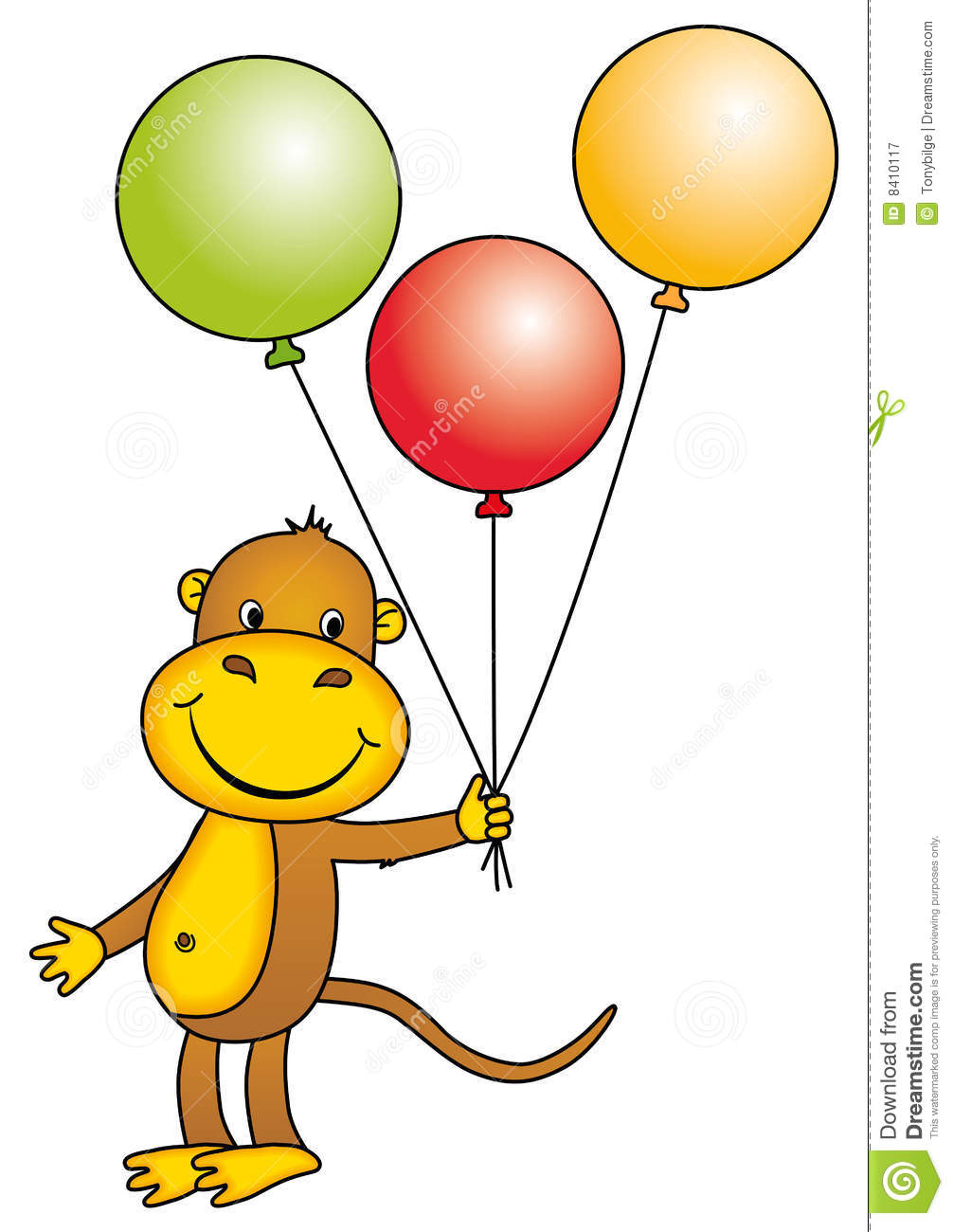 Monkey holding balloons stock illustration image of game 8410117
