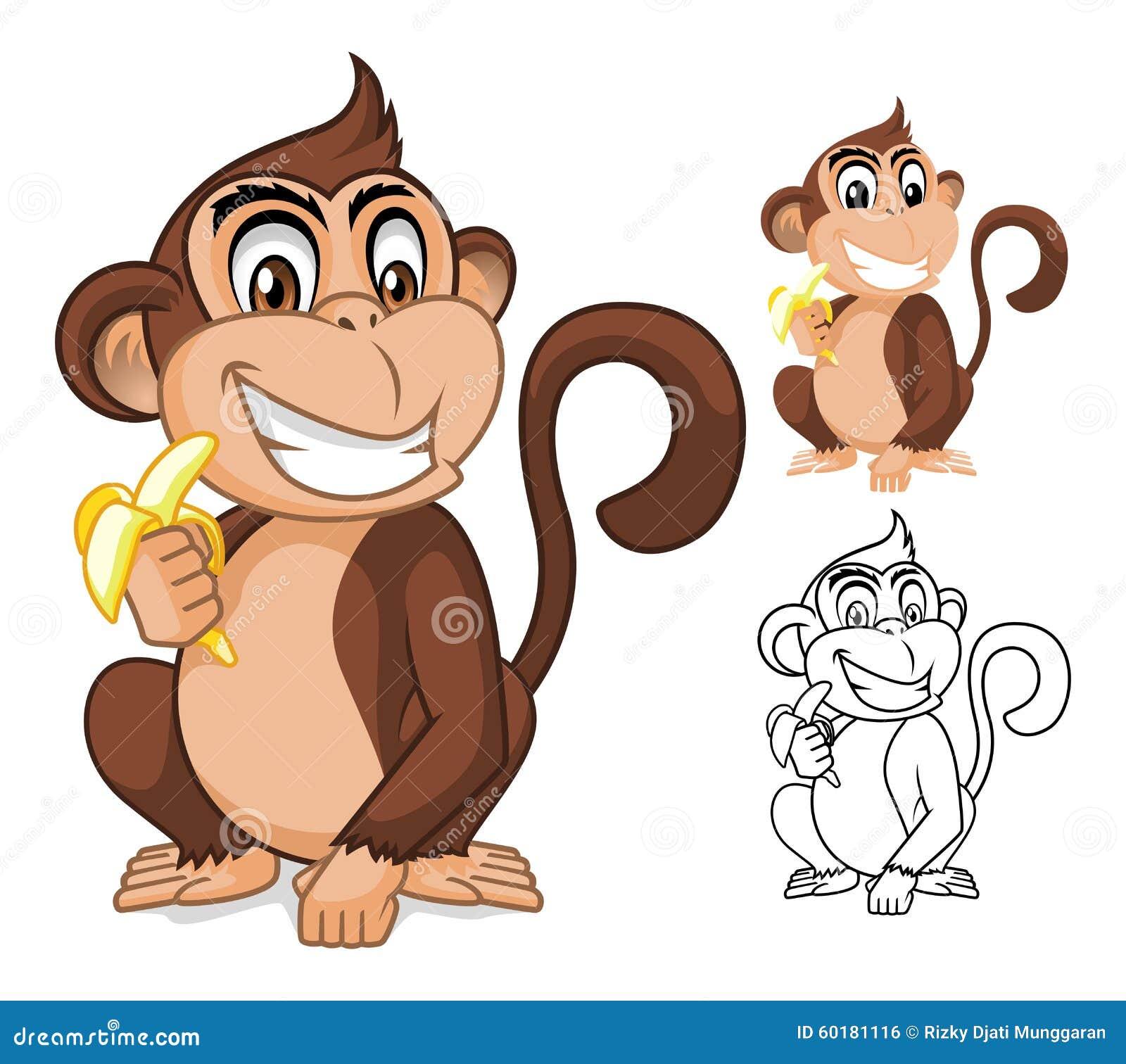 Monkey Holding Banana Cartoon Character Stock Vector