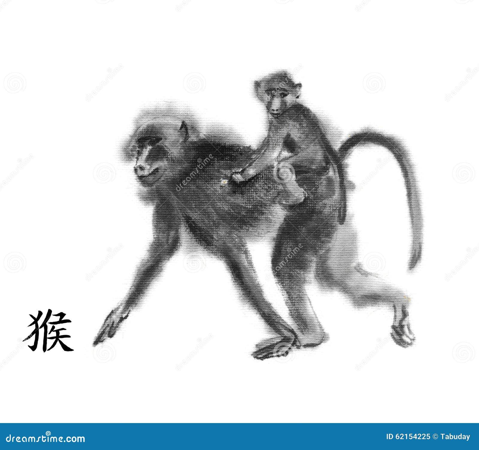Monkey ink painting sumi e stock illustration image 62154225 monkey ink painting sumi e buycottarizona