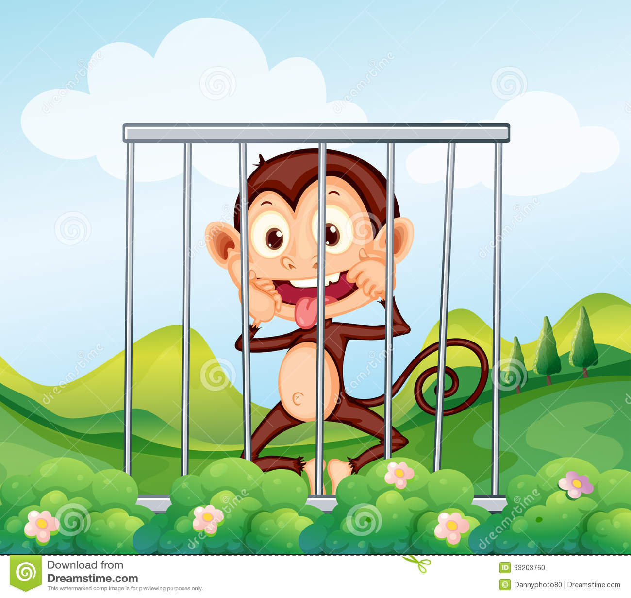 Monkey Inside The Cage Stock Photo - Image: 33203760