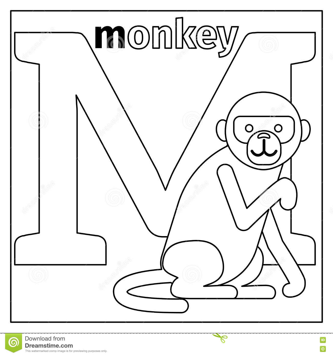 Coloring book pages letter m - Monkey Letter M Coloring Page Stock Vector Image 79426522