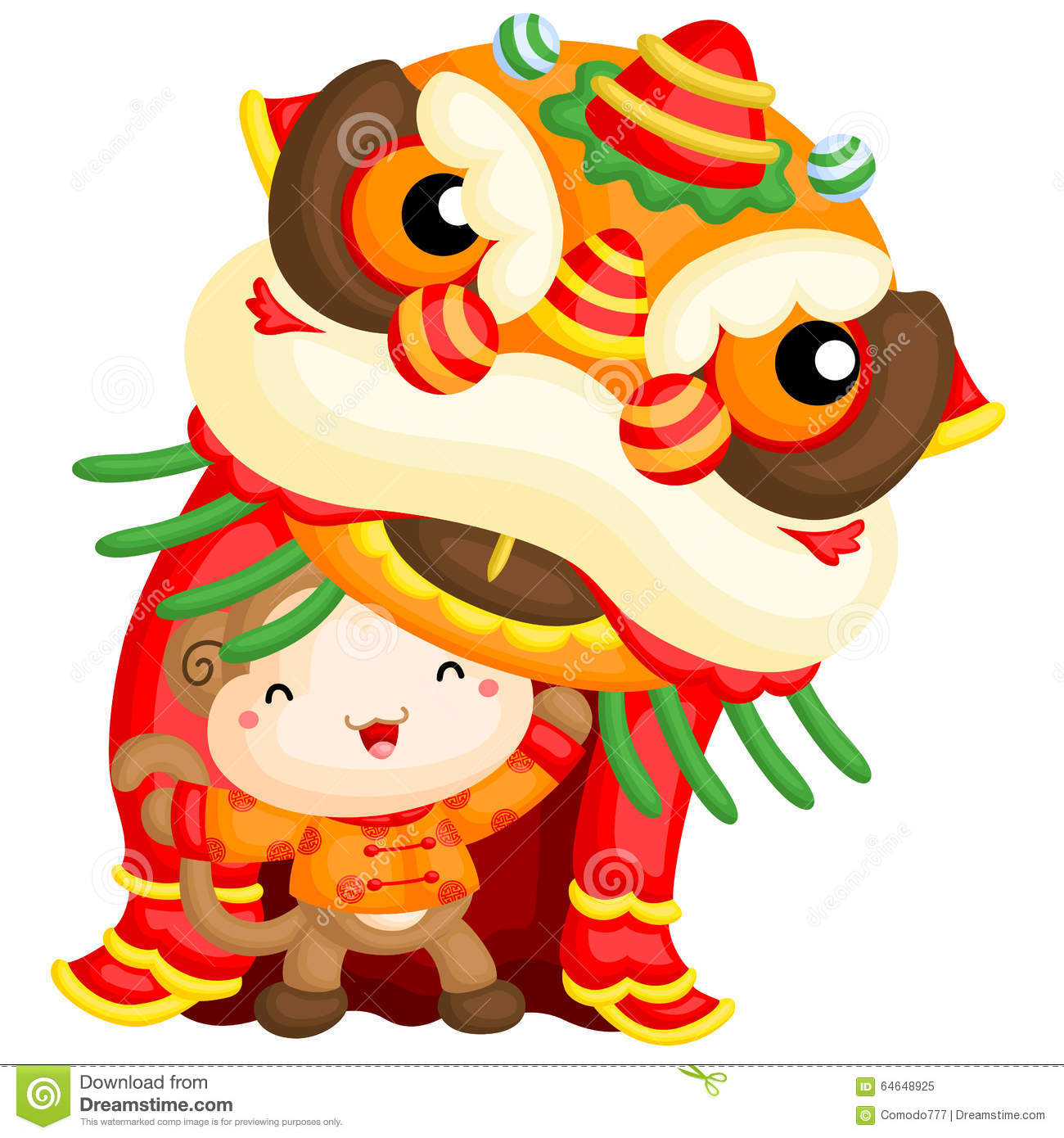 Chinese new year card with plum blossom and lion dance vector.