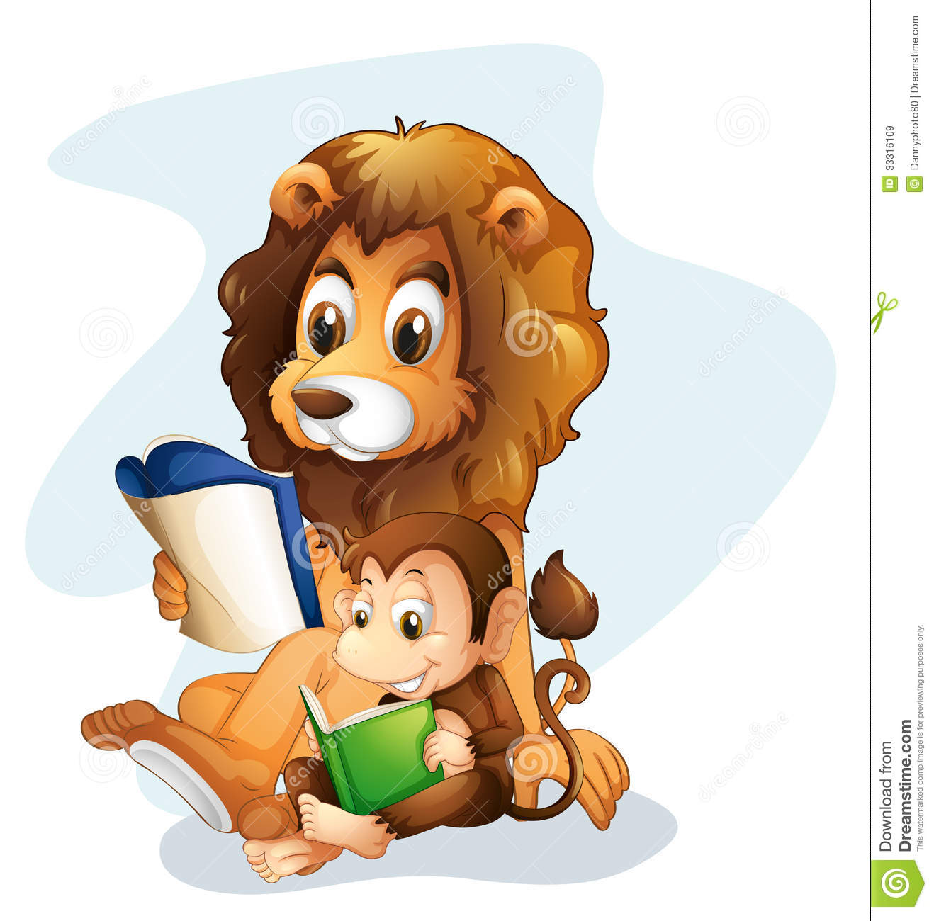 A Monkey And A Lion Reading Books Royalty Free Stock