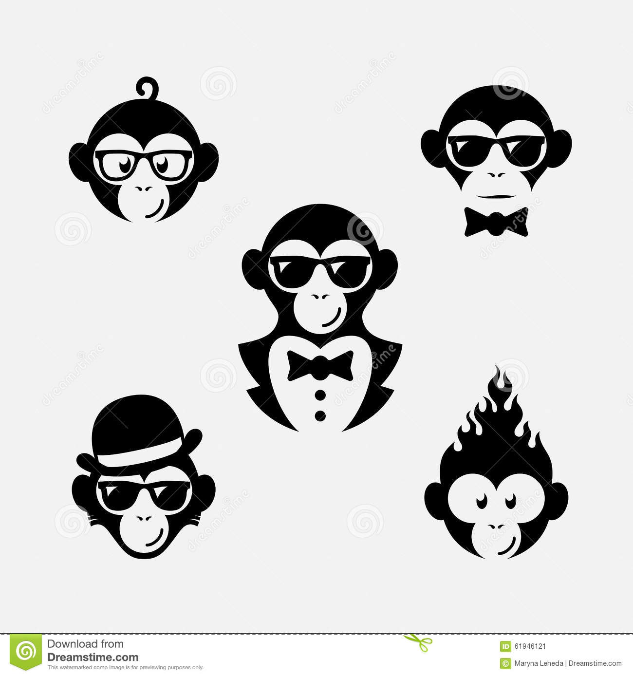 Set of funny logo design templates with monkey. Vector illustration.